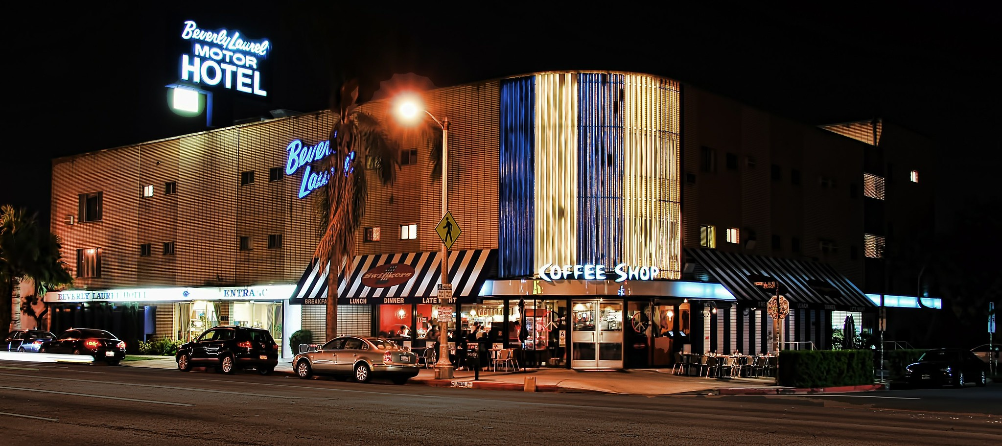 Outside Swingers diner and the Beverly Laurel Hotel in Los Angeles