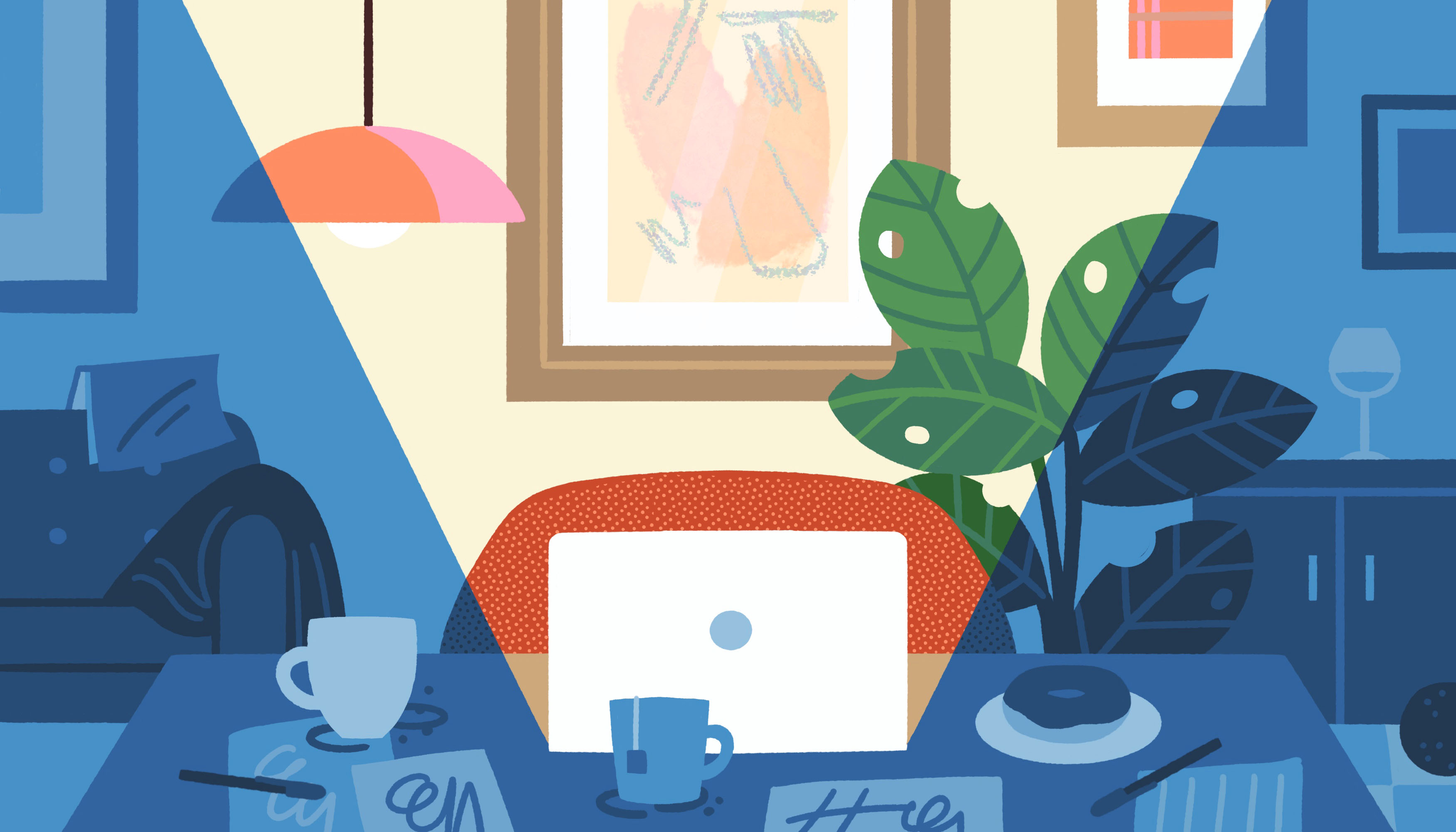 Illustration features a white laptop under a ray of light. Surroundings, like a mug, are in the shadows.