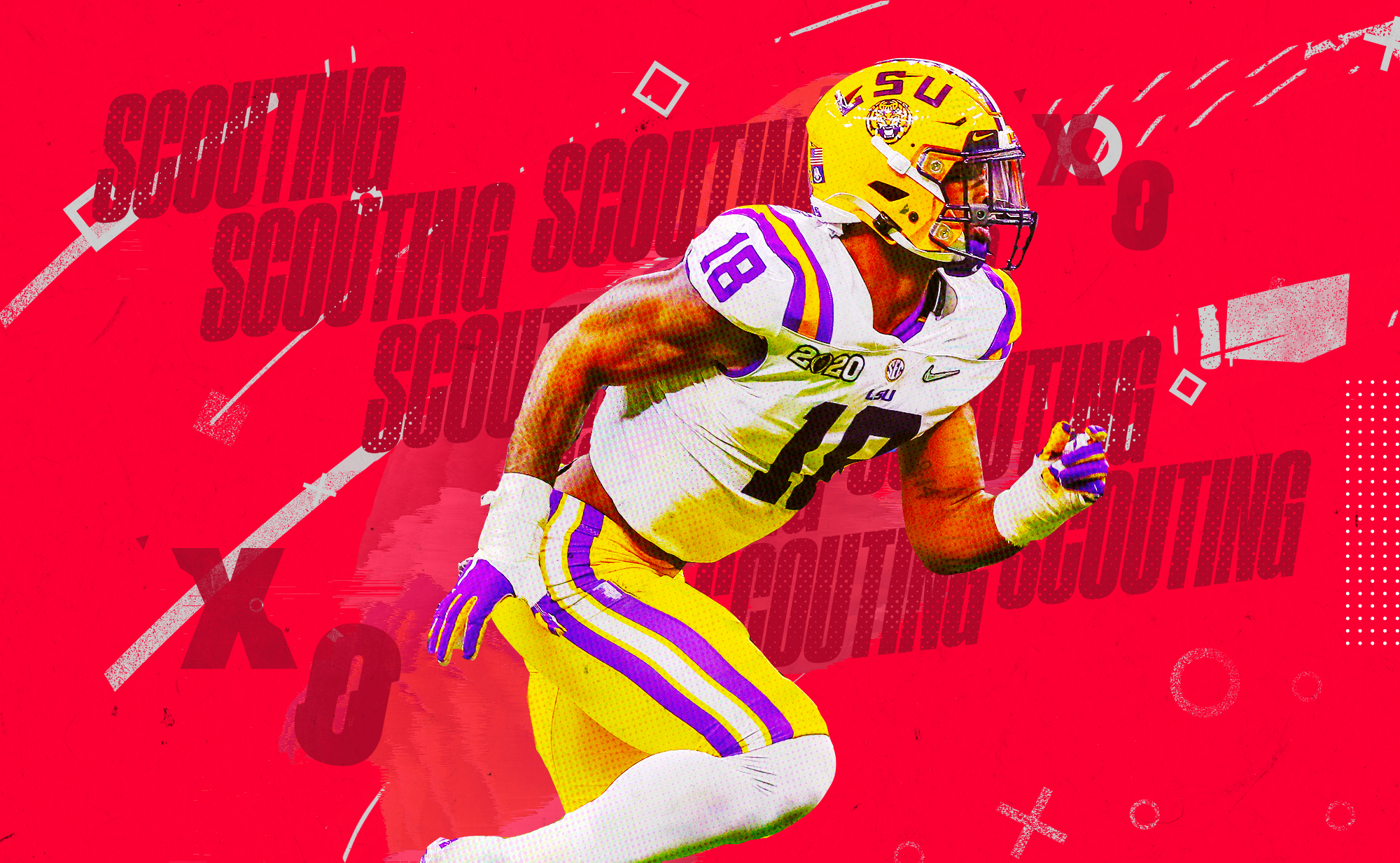 """An illustration of NFL edge prospect K'Lavon Chaisson running at LSU, superimposed on a red background with """"SCOUTING"""" and """"X""""s and """"O""""s in gray lettering"""