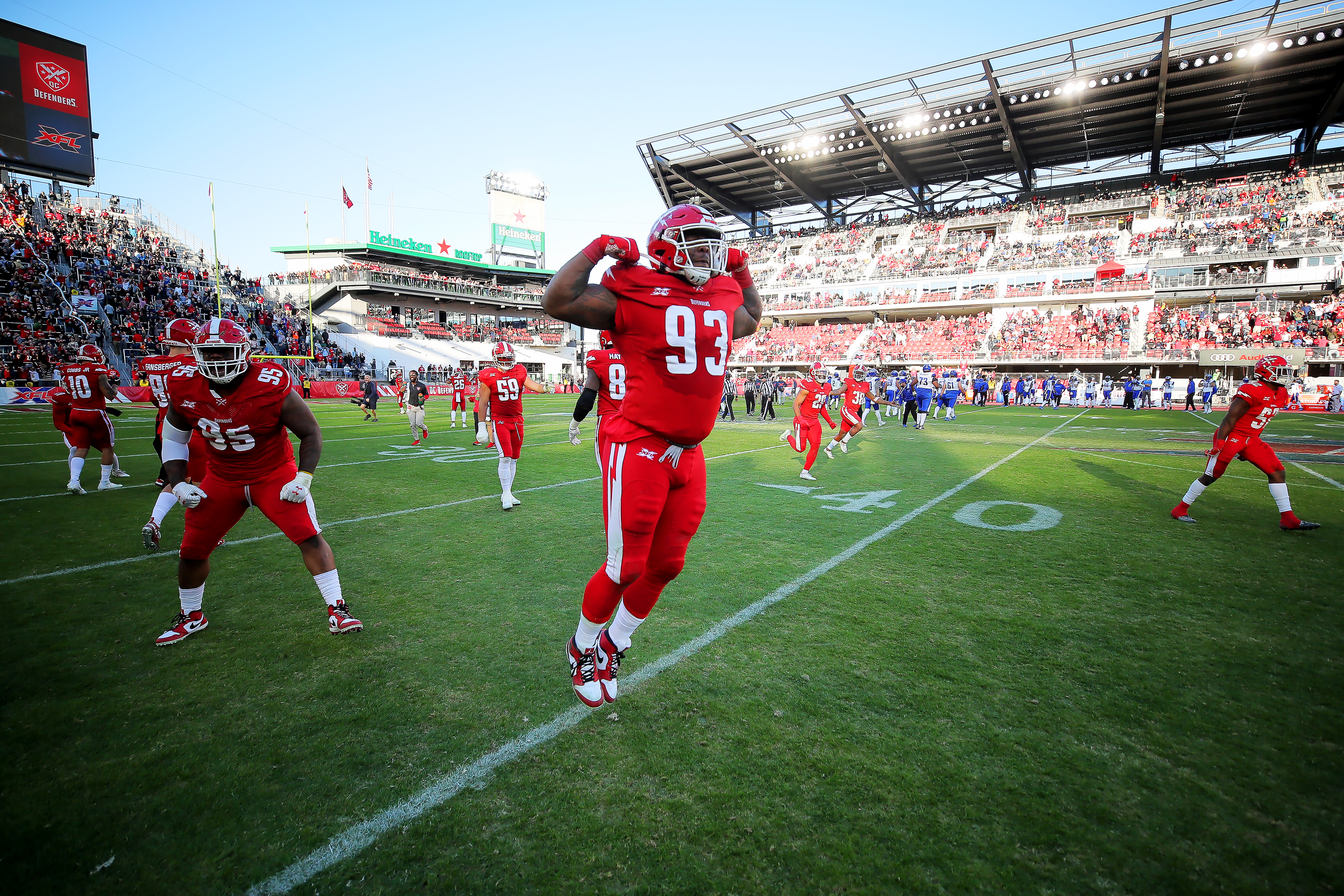 Tracy Sprinkle of the DC Defenders celebrates during the XFL game against the St. Louis BattleHawks at Audi Field on March 8, 2020 in Washington, DC.