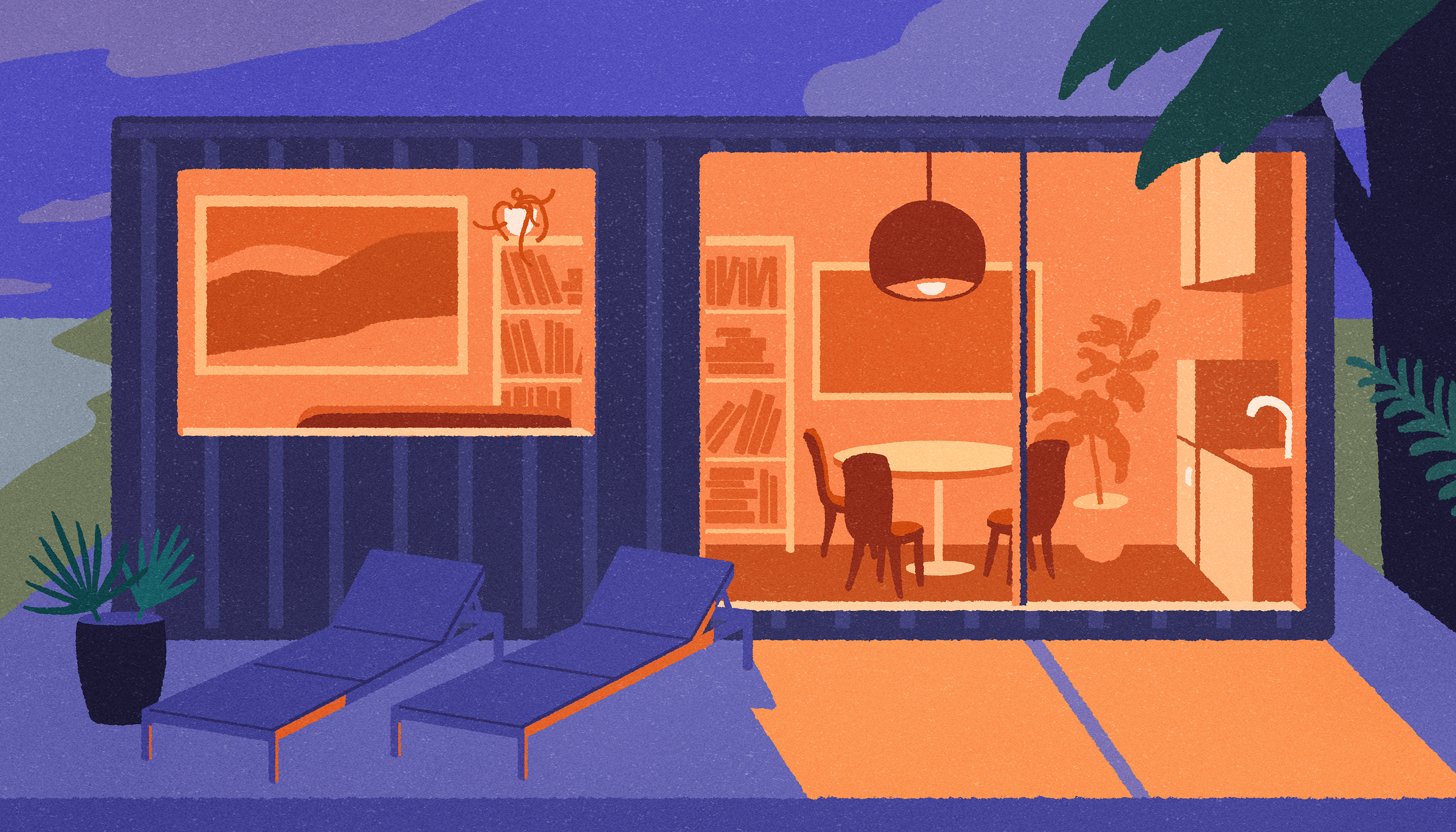 An illustration of a purple shipping container house with light streaming from the inside.