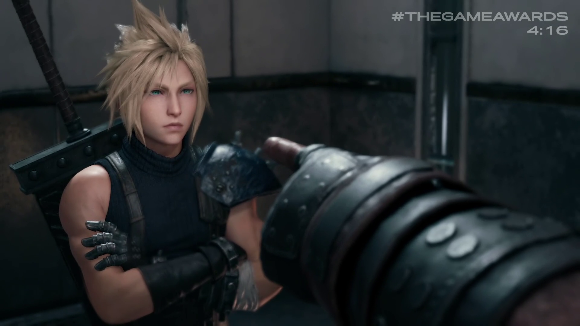 Cloud Strife with someone pointing at him in Final Fantasy 7 Remake