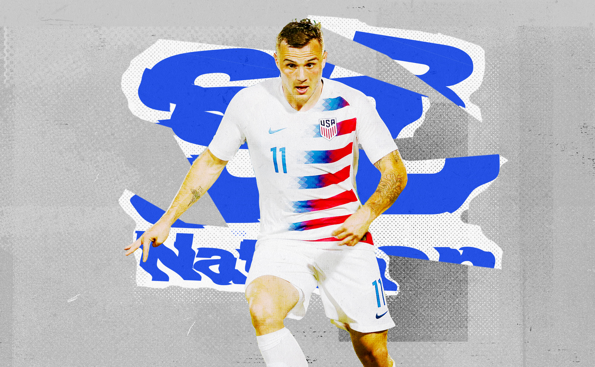 Jordan Morris in a white USMNT kit dribbling towards the viewer. Behind him is a distorted SB Nation logo on a white background.