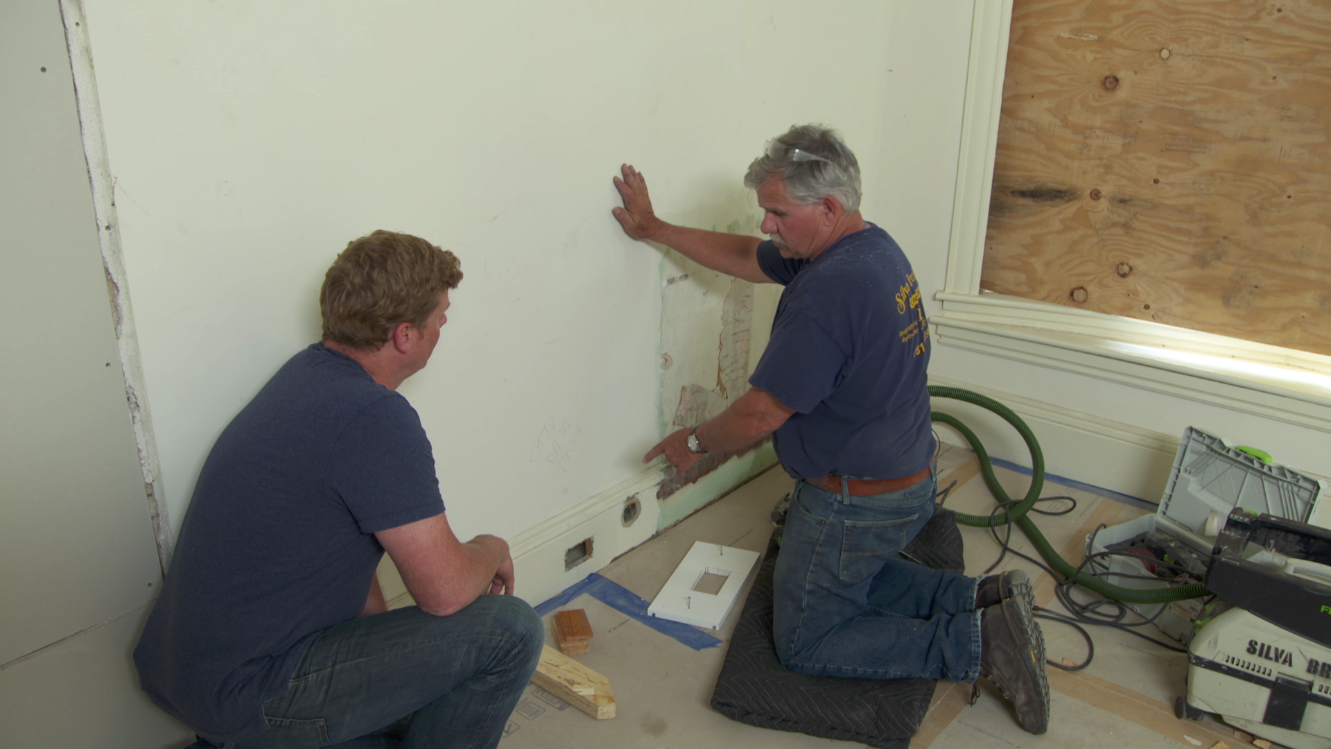 Repairing a baseboard with a patch