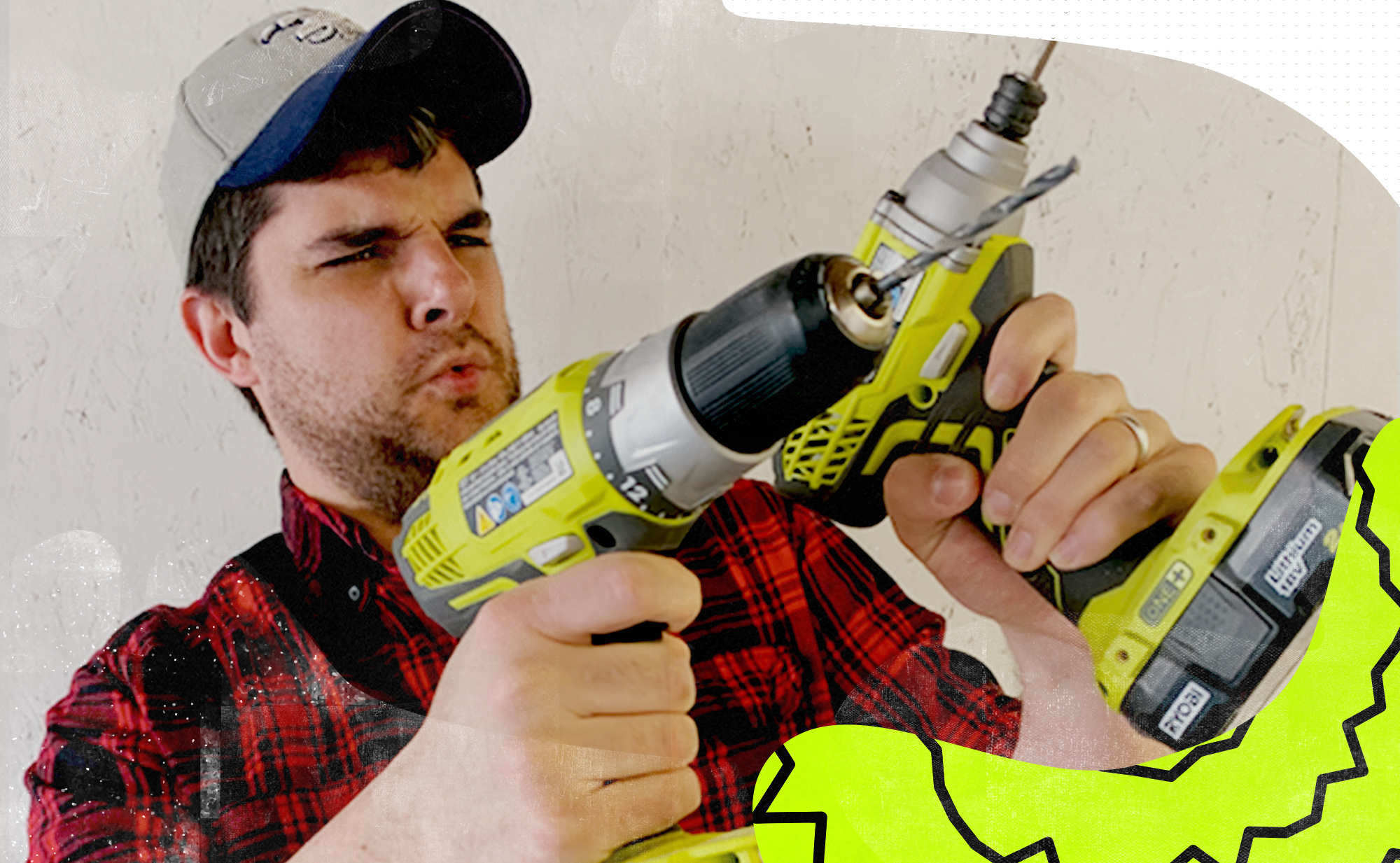 Photo of author in flannel shirt and baseball cap holding two power drills like recently fired pistols.