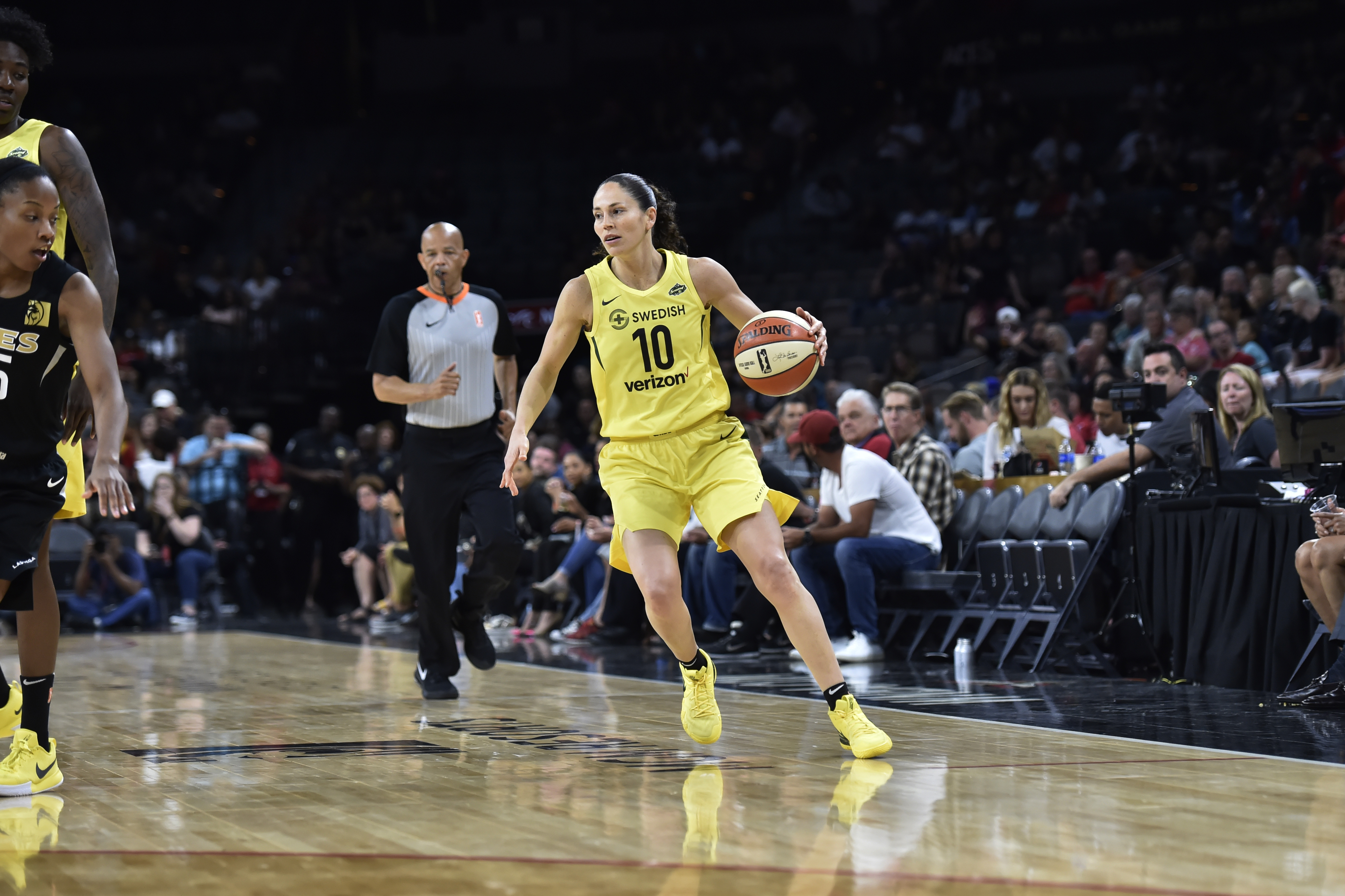 Sue Bird of the Seattle Storm handles the ball against the Las Vegas Aces in a WNBA game on May 27, 2018 at the Mandalay Bay Events Center in Las Vegas, Nevada.