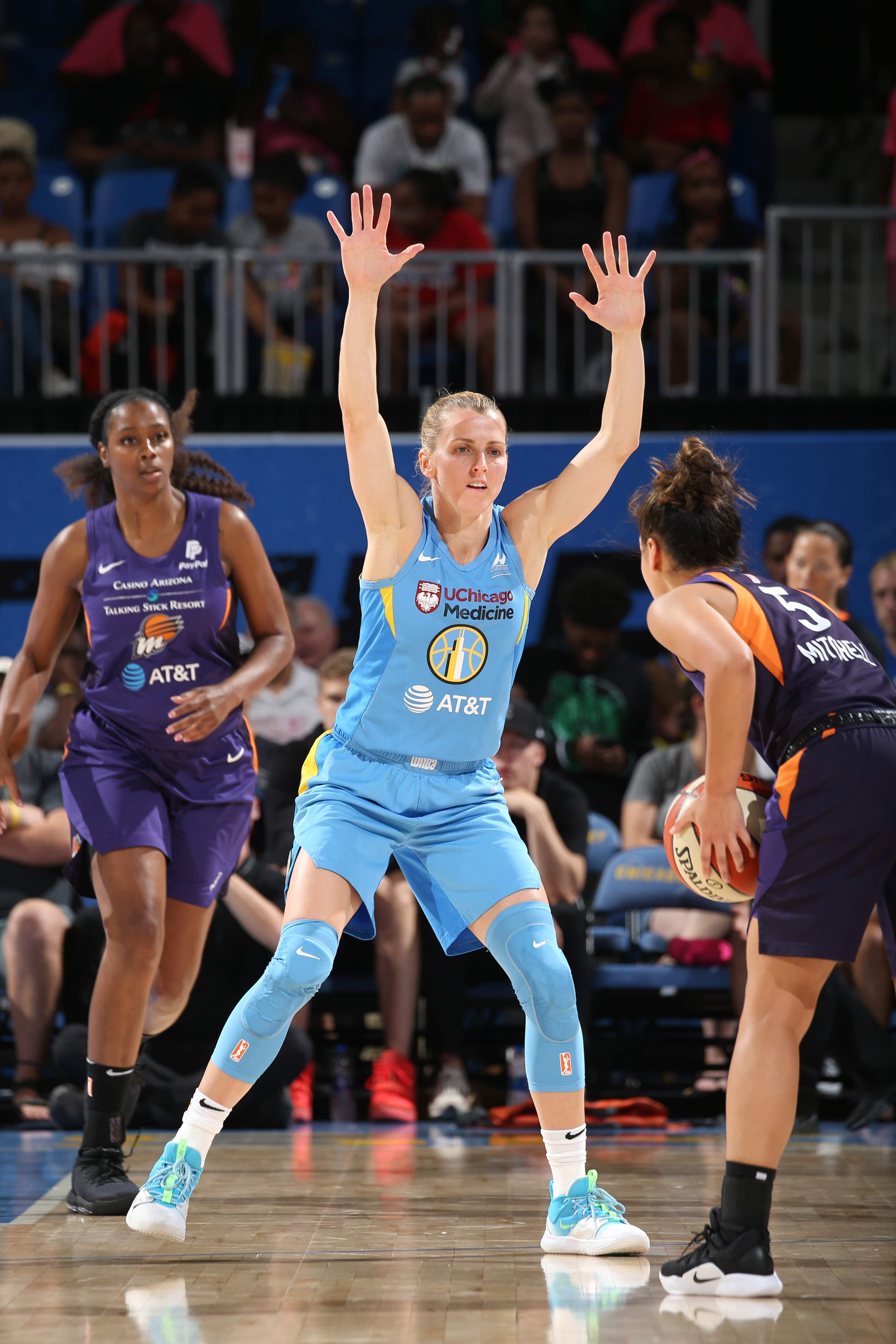 Allie Quigley of the Chicago Sky plays defense against the Phoenix Mercury during Round One of the WNBA Playoffs on September 11, 2019 at Wintrust Arena in Chicago, Illinois.