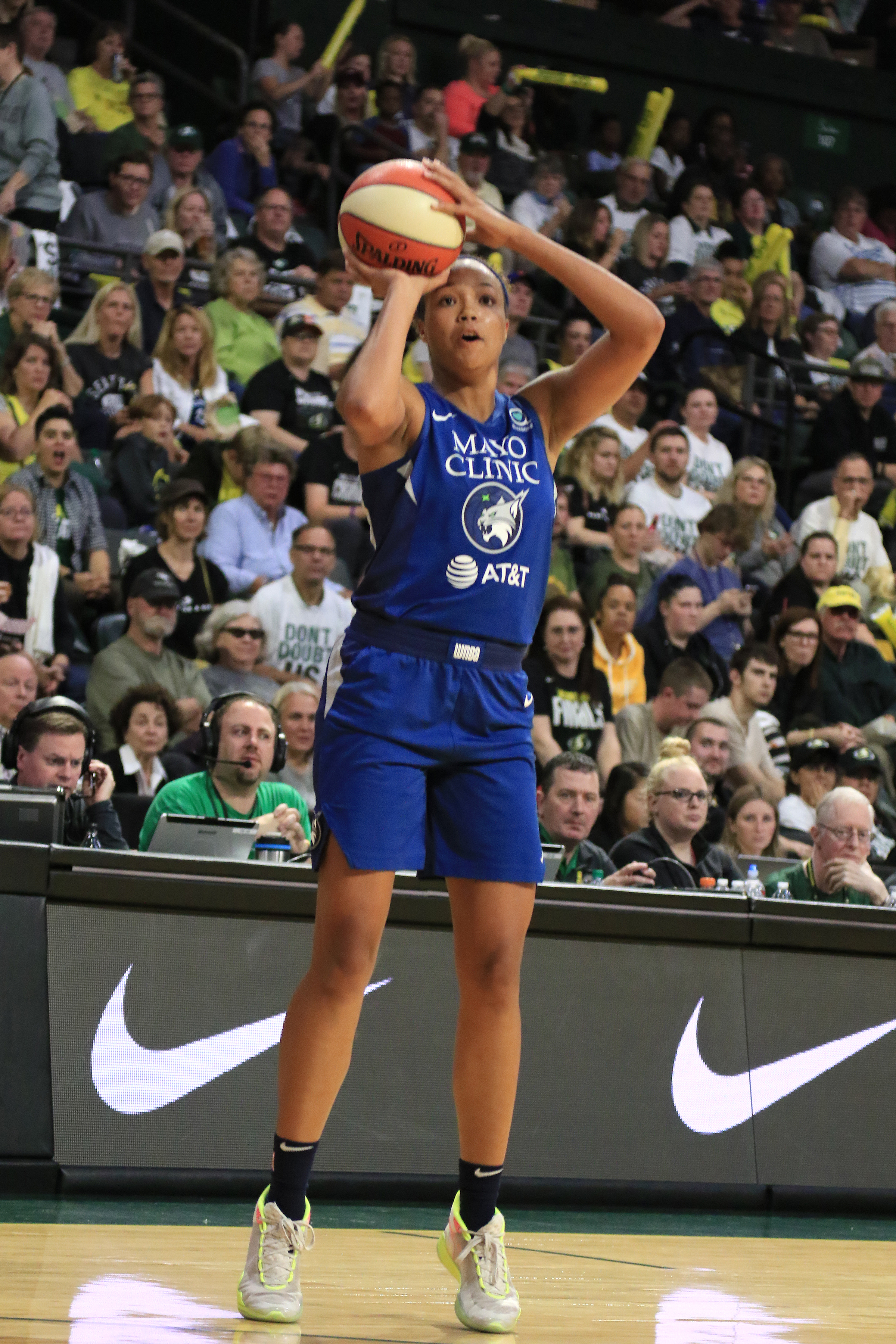 Napheesa Collier of the Minnesota Lynx shoots the ball against the Seattle Storm during Round One of the WNBA Playoffs on September 11, 2019 at Angel of the Winds Arena in Everett, Washington.