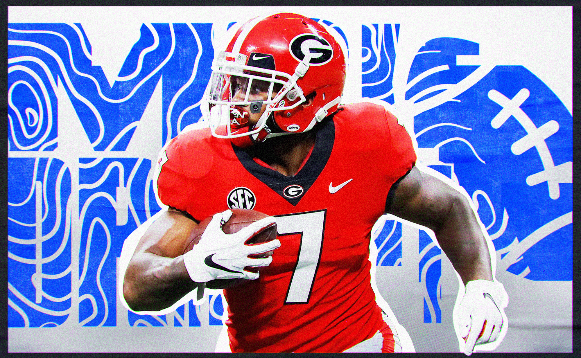 """Artwork of NFL Draft RB prospect D'Andre Swift carrying the ball at Georgia, superimposed on a white background with """"mock draft"""" in blue letters"""