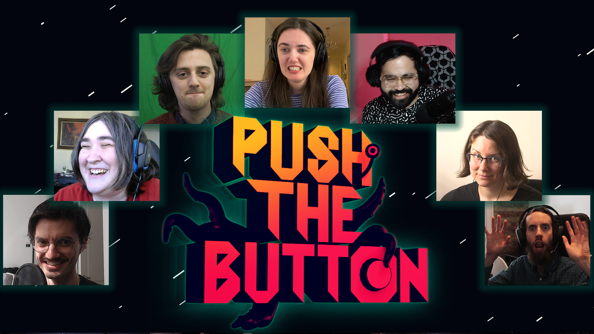 Images of Polygon employees arranged around a Push the Button logo.