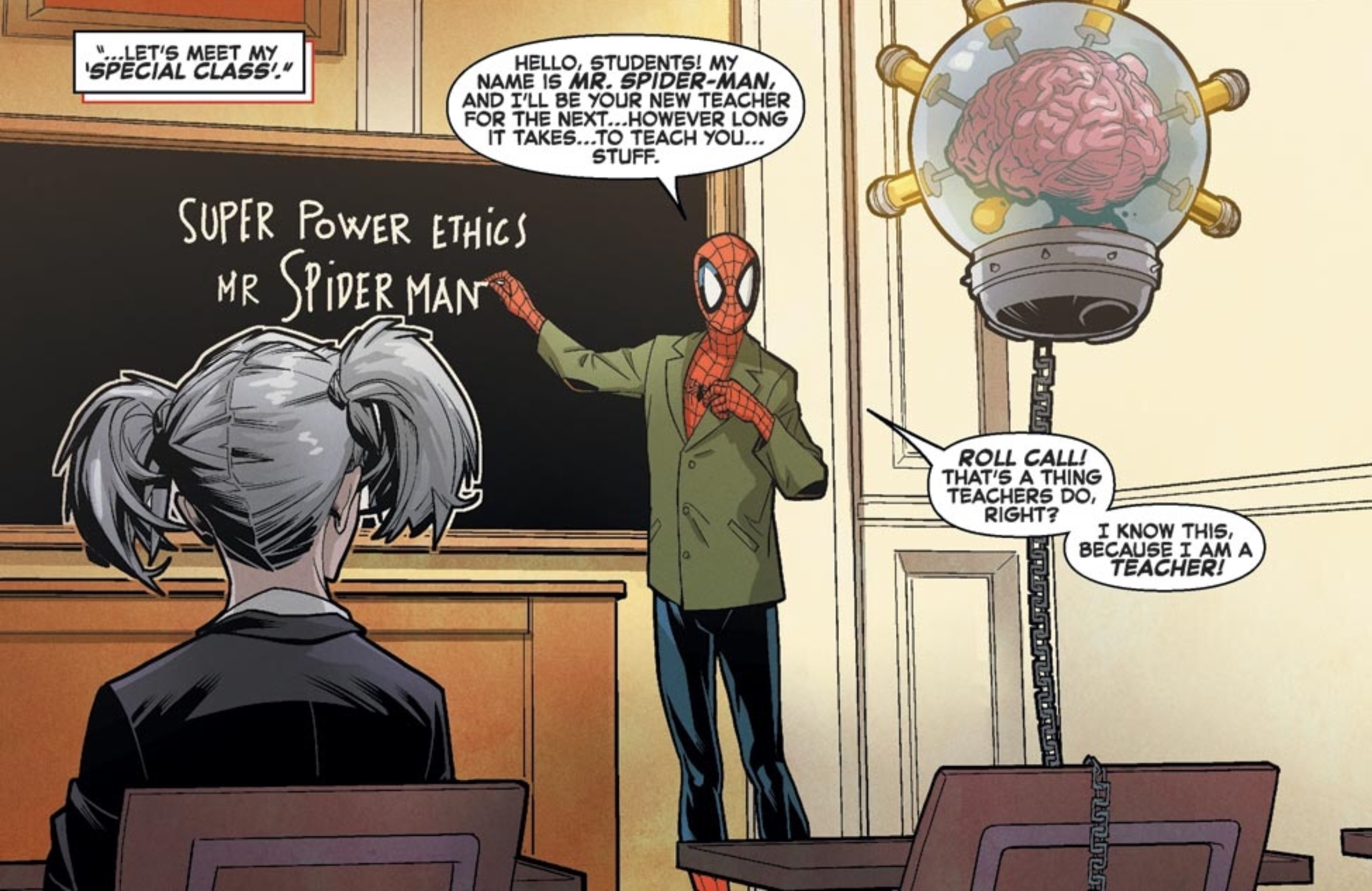 """Spider-Man stands in front of a chalkboard at the Jean Grey School for young mutants, wearing a green suit jacket over his full costume. On the chalkboard, he has written """"Super Power Ethics. Mr. Spider-Man."""" Spider-Man & the X-Men #1, Marvel Comics (2015)."""