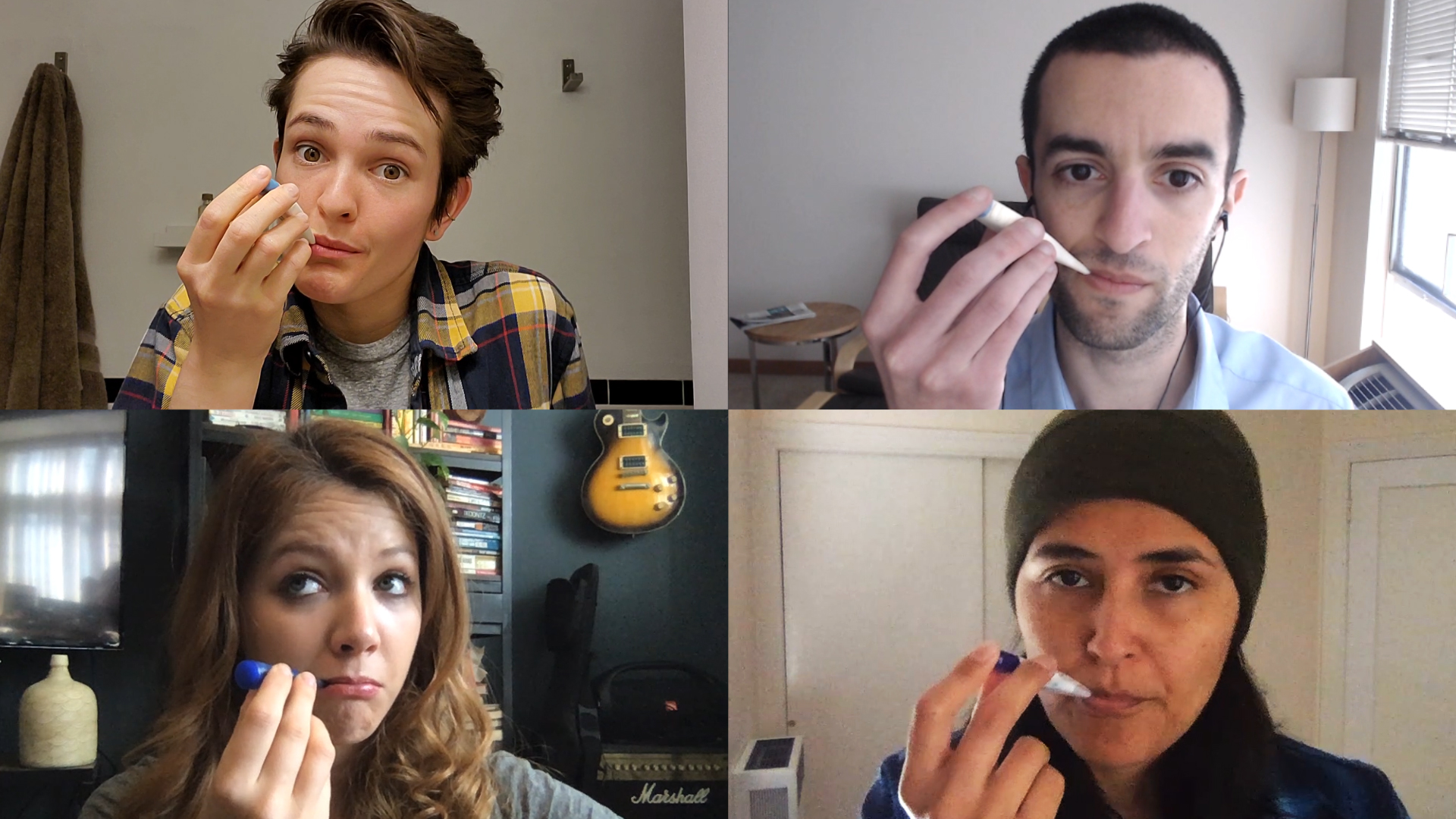 a montage of Verge employees take their temperature