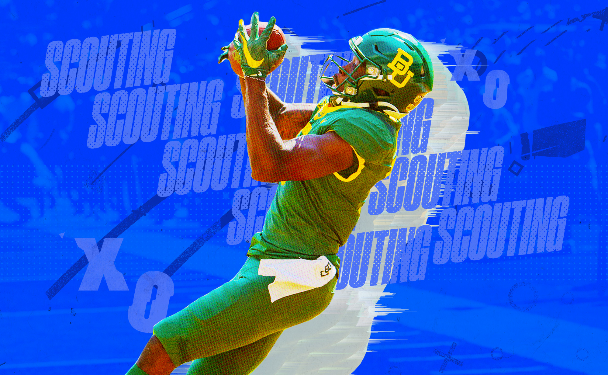 """Artwork of NFL WR prospect Denzel Mims catching a TD at Baylor, superimposed on a blue background with """"SCOUTING"""" and """"X""""s and """"O""""s in gray lettering"""