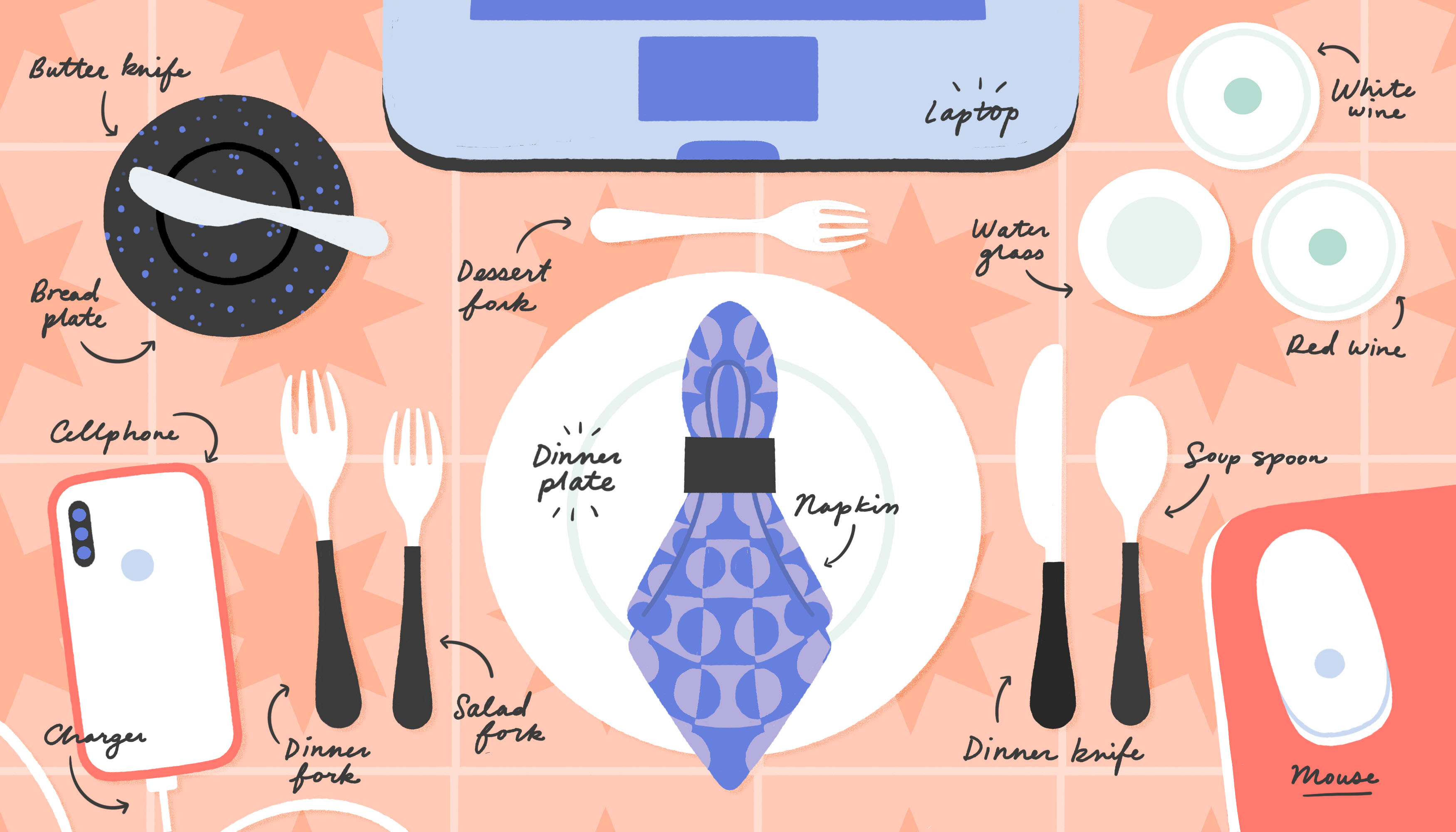 Illustration of a table with a laptop, dinner plate and napkins, fork, and a phone.