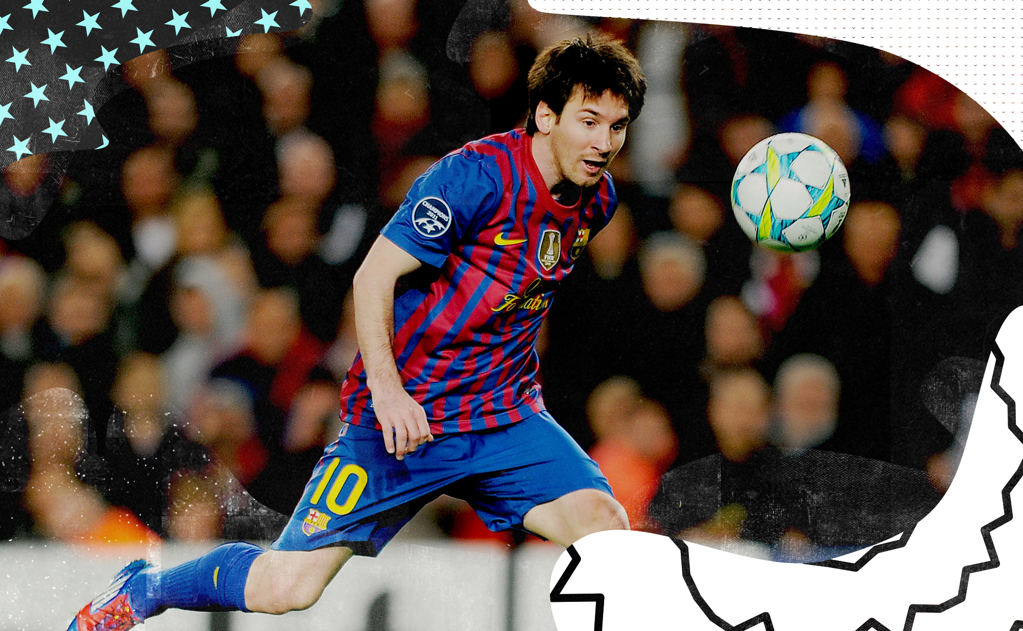 Messi in 2011 chasing a juggling soccer ball against Leverkusen.