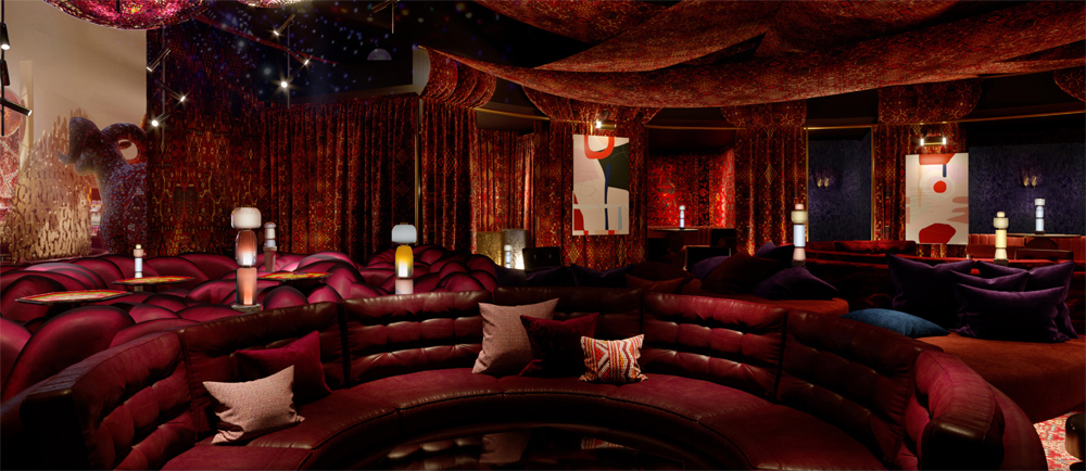 A rendering of one of the many luxury lounges under construction at Virgin Hotels Las Vegas.