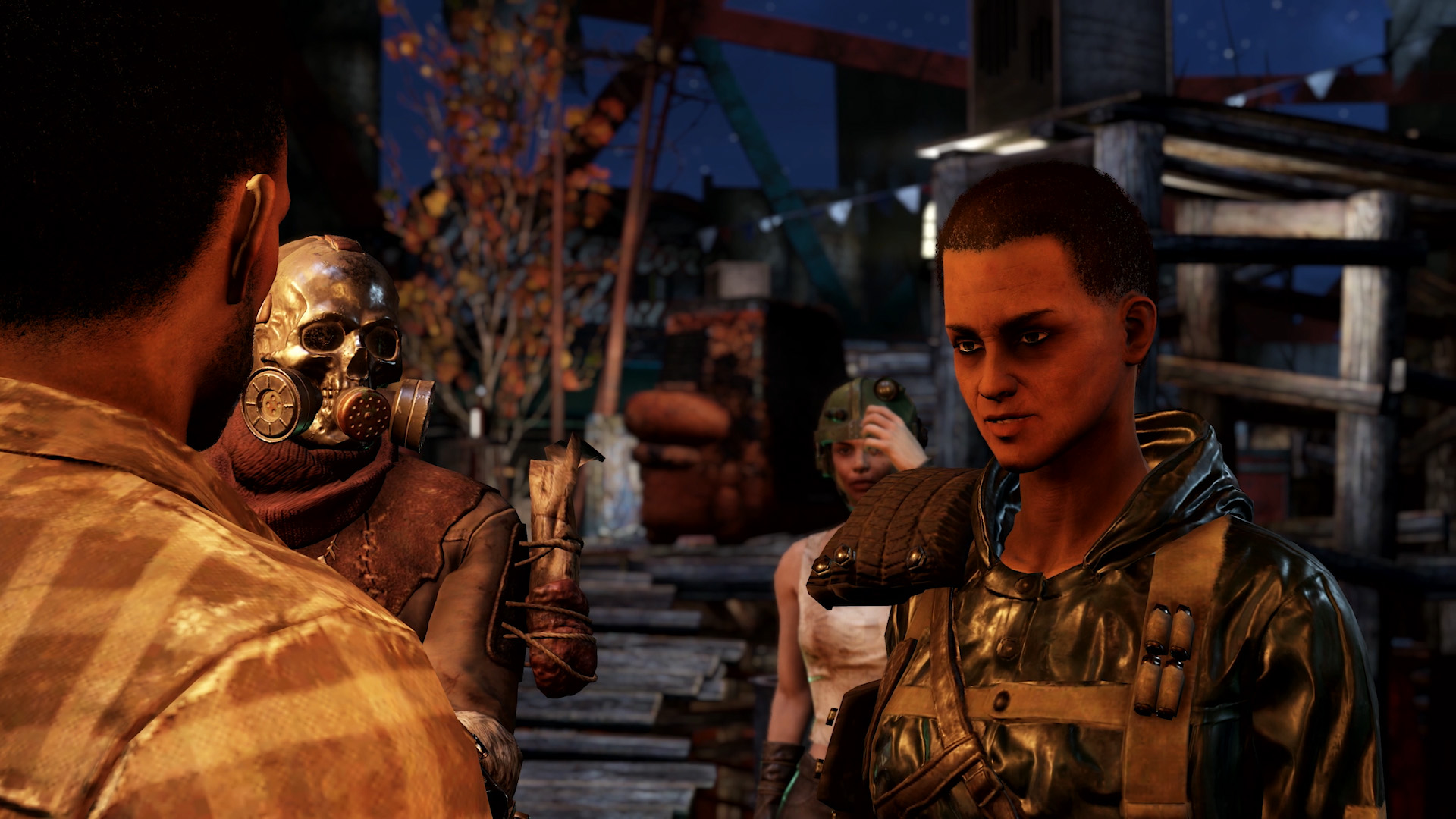 The player speaks with a human NPC representing a faction in Fallout 76's Wastelanders update