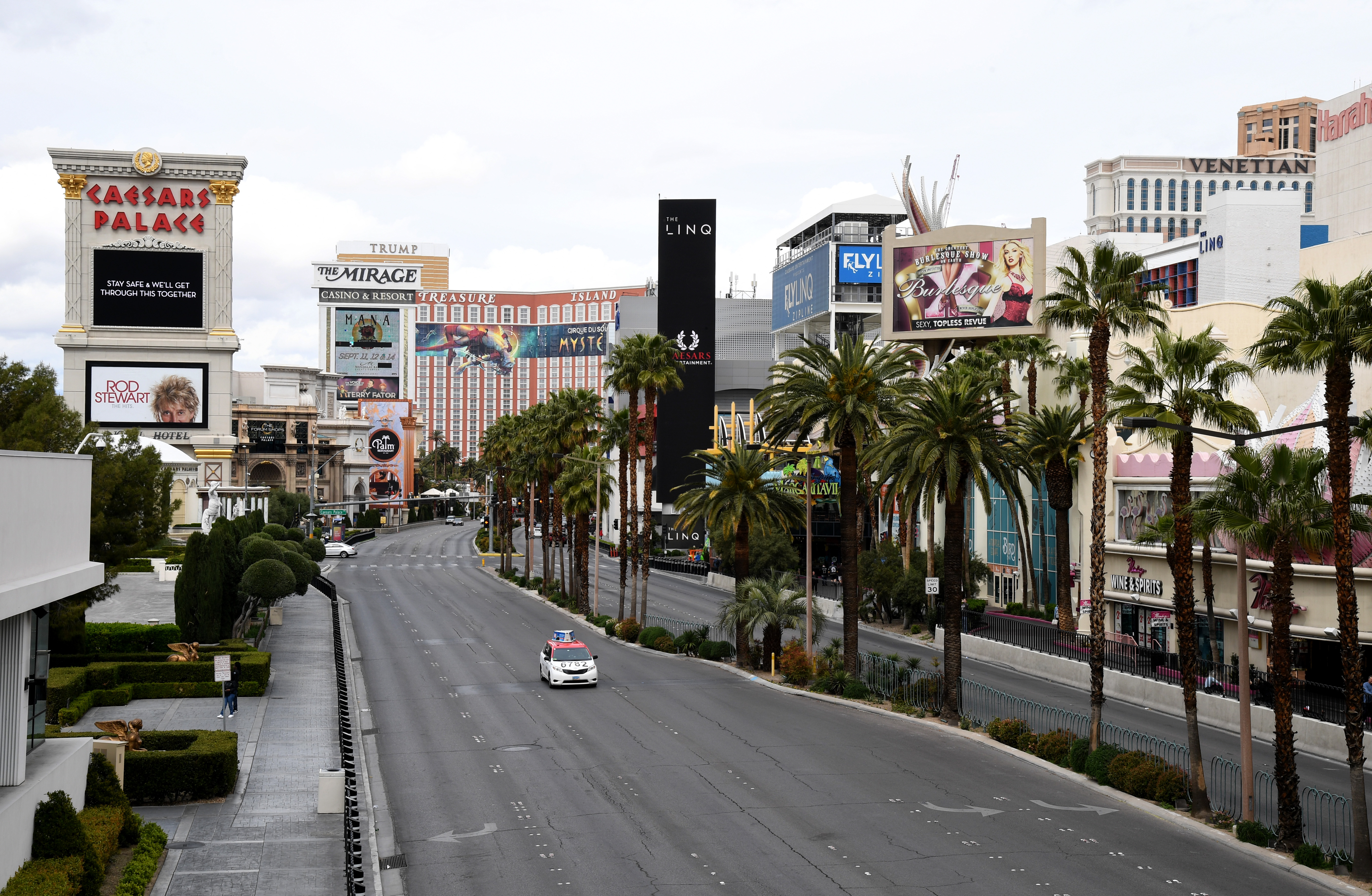 A near-empty Las Vegas strip during early efforts to mitigate the spread of the coronavirus.