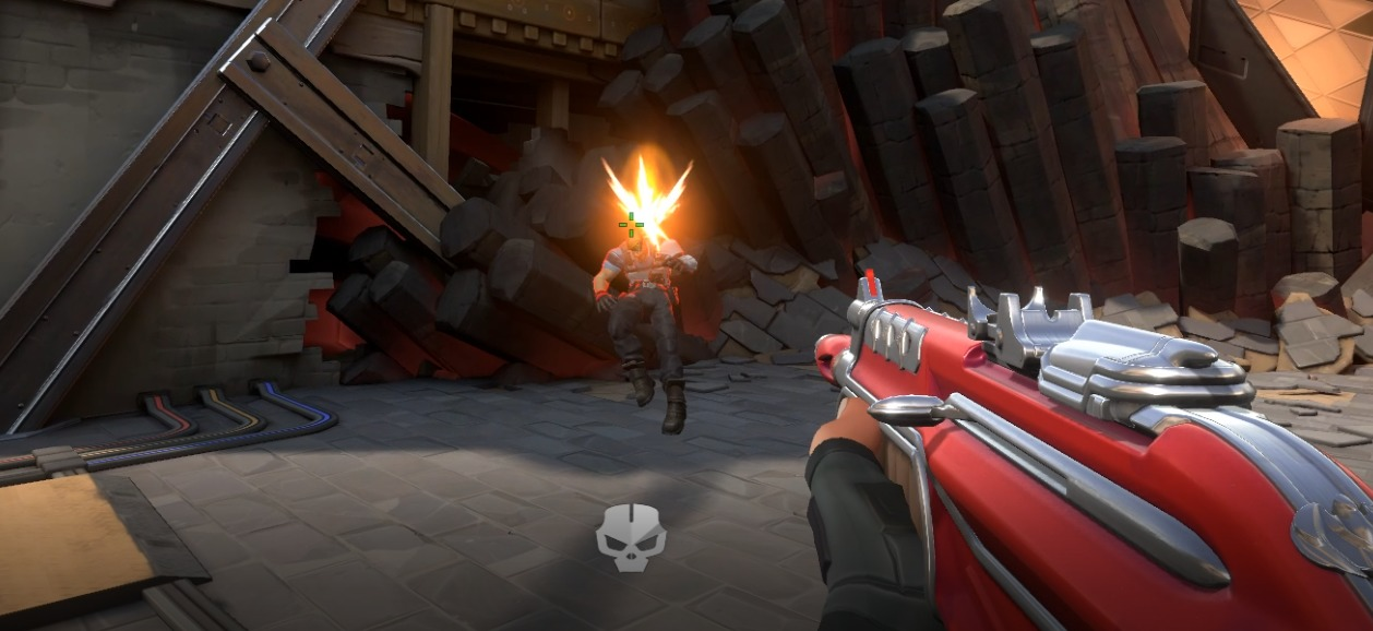 A player in Valorant getting shot in the head but sparks fly out instead of blood