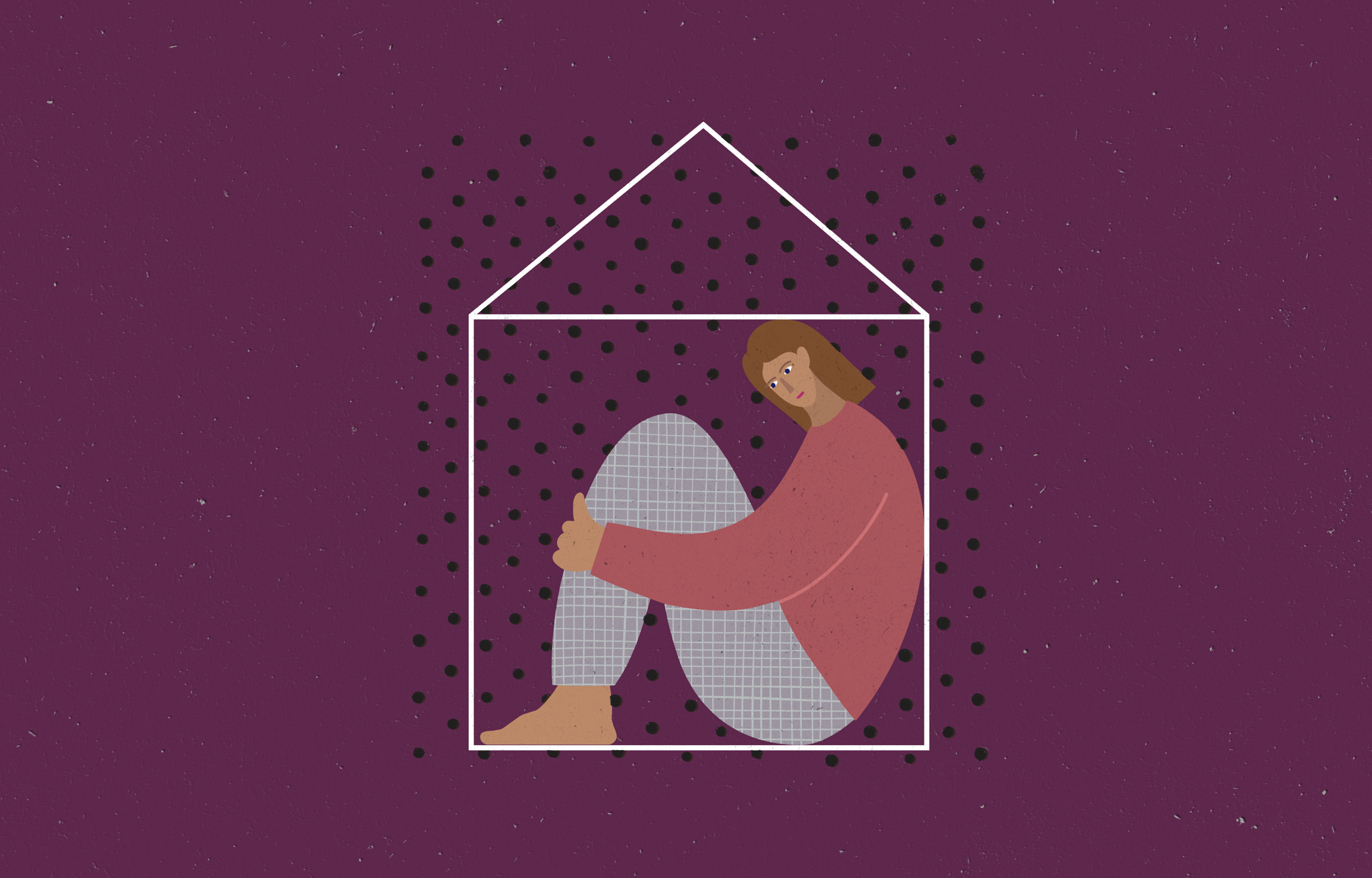 An illustration of a person in the fetal position with a house outline around them.