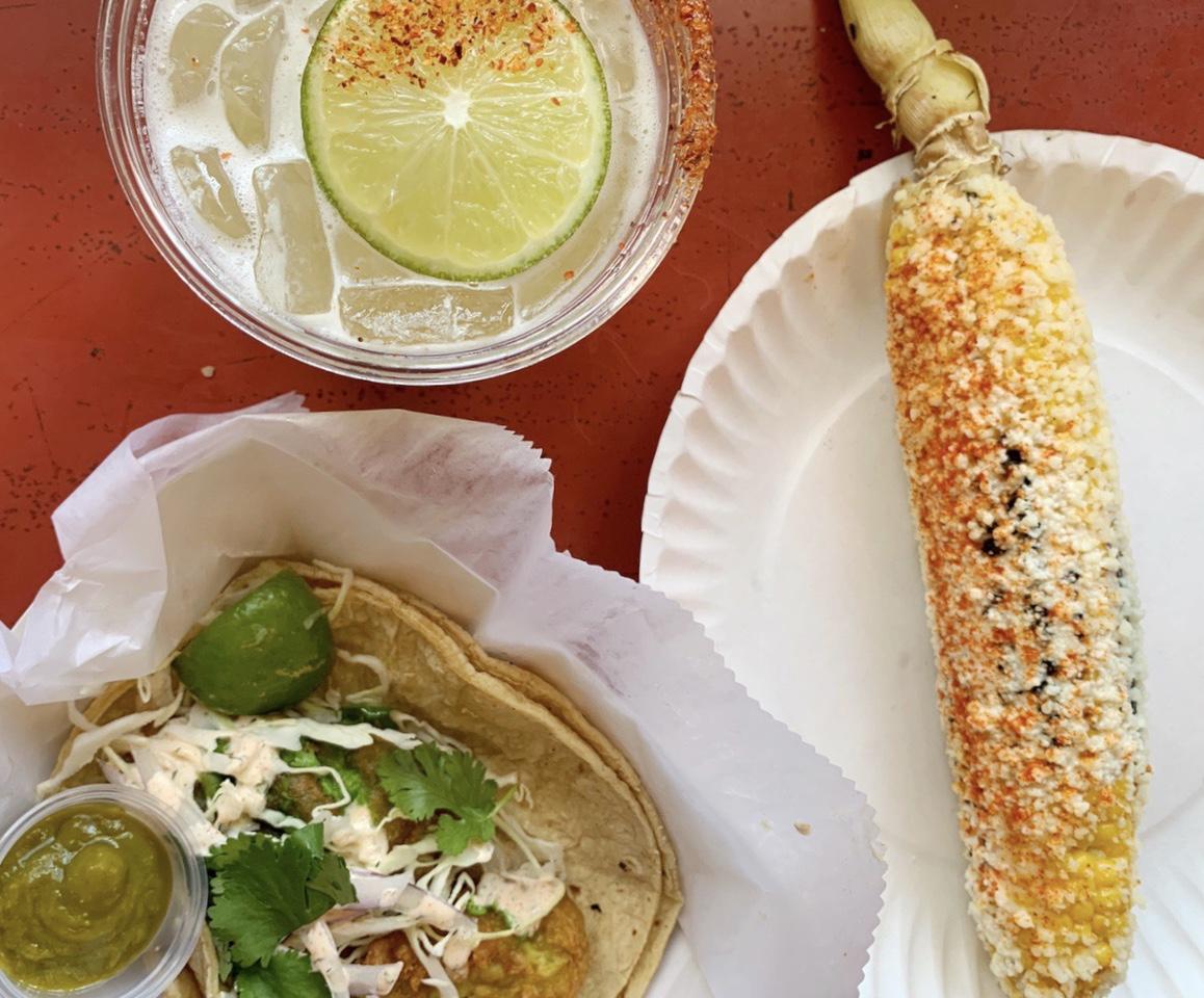 Elote, taco, margarita at Mas Tacos