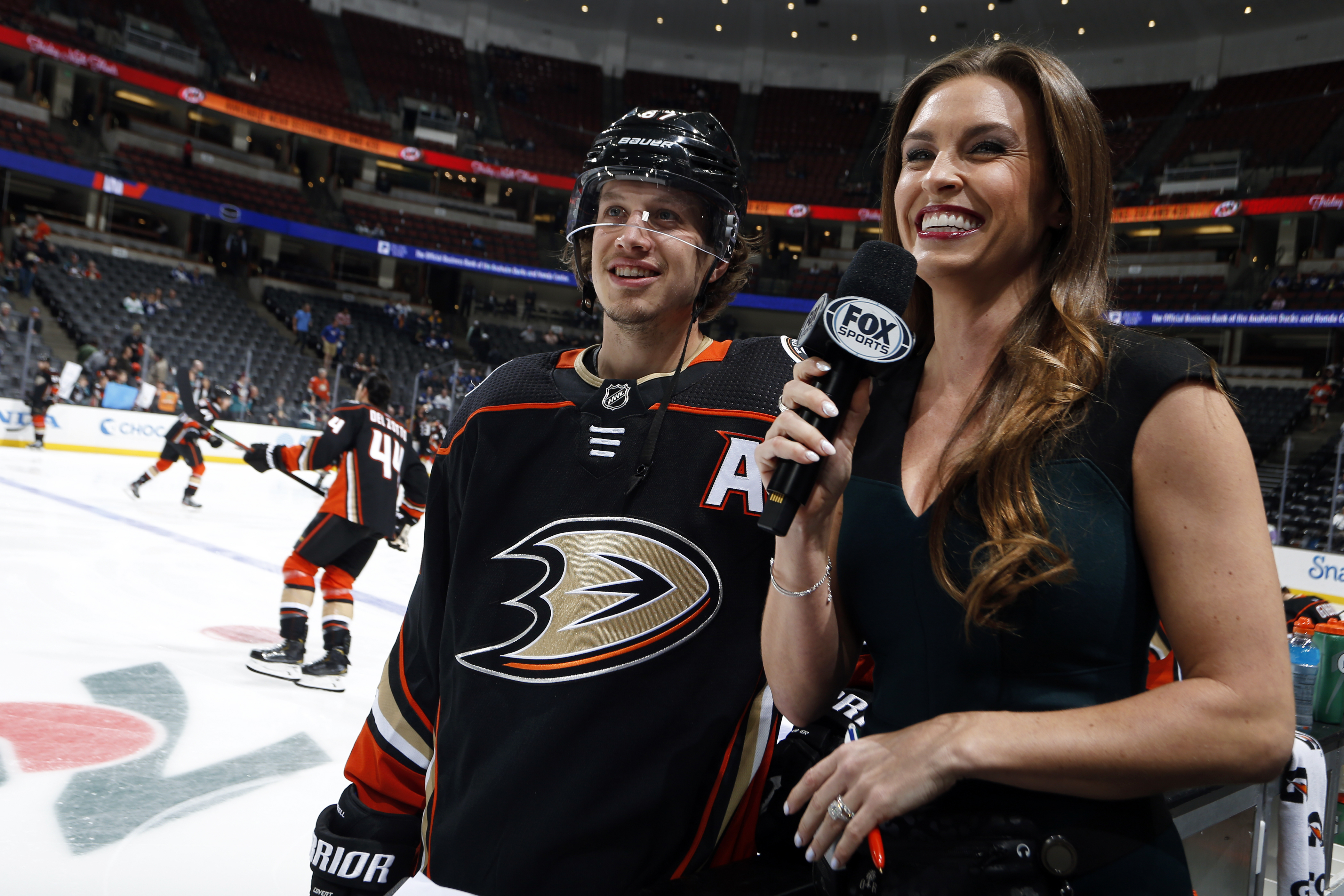 ANAHEIM, CA - MARCH 6: Rickard Rakell #67 of the Anaheim Ducks talks in a pre-game interview with Alyson Lozoff during warm-ups of the game against the Toronto Maple Leafs at Honda Center on March 6, 2020 in Anaheim, California.