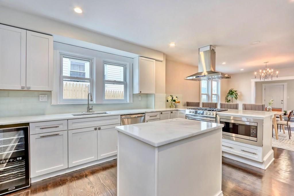 A spacious open kitchen with an island.