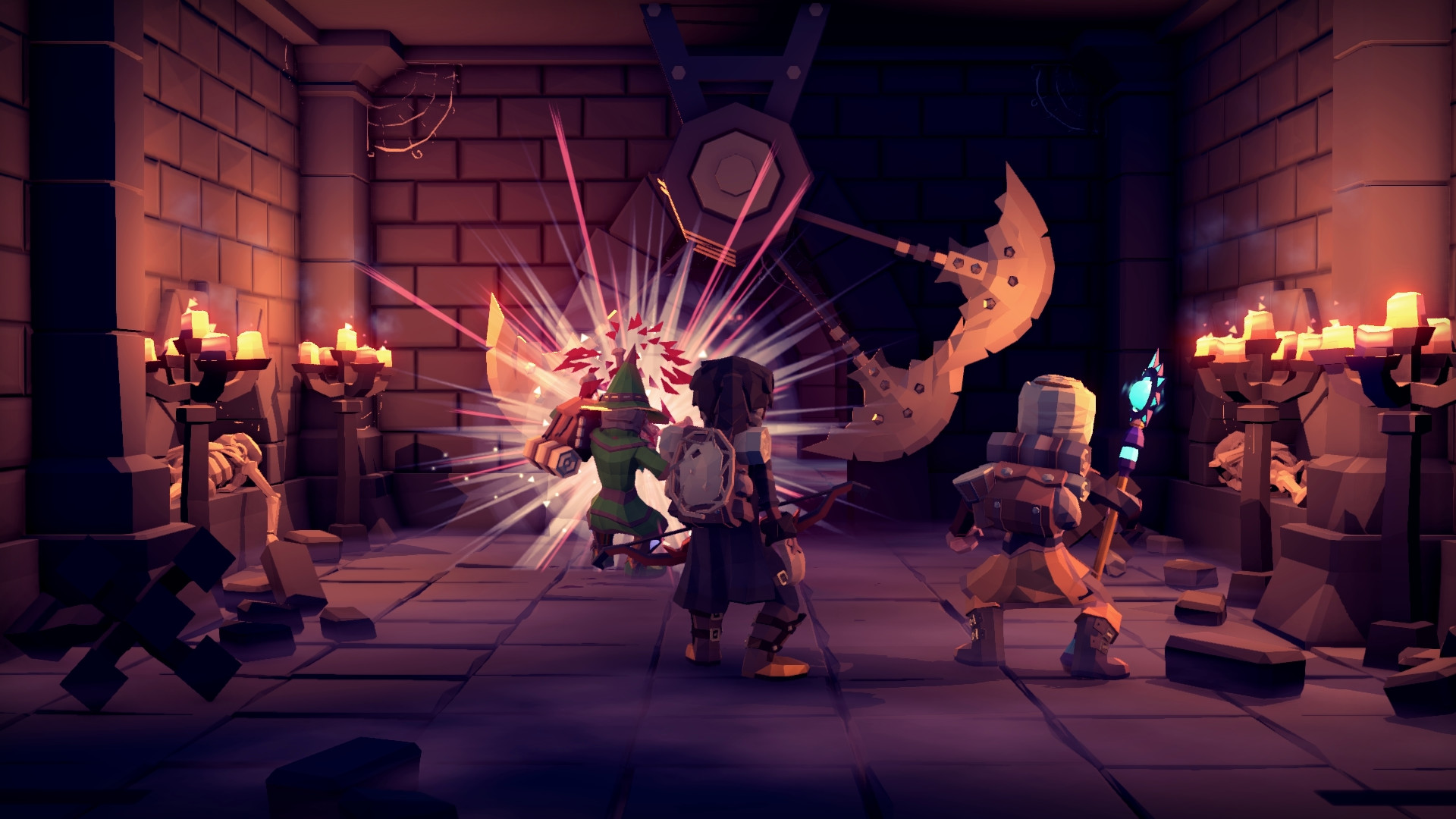 Adventurers face deadly traps in a dungeon in a screenshot from For the King.