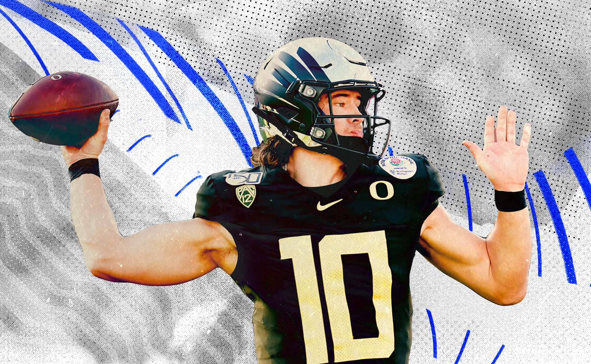 A photo of NFL QB prospect Justin Herbert throwing a pass at Oregon, superimposed on a white background with blue lines and gray dots