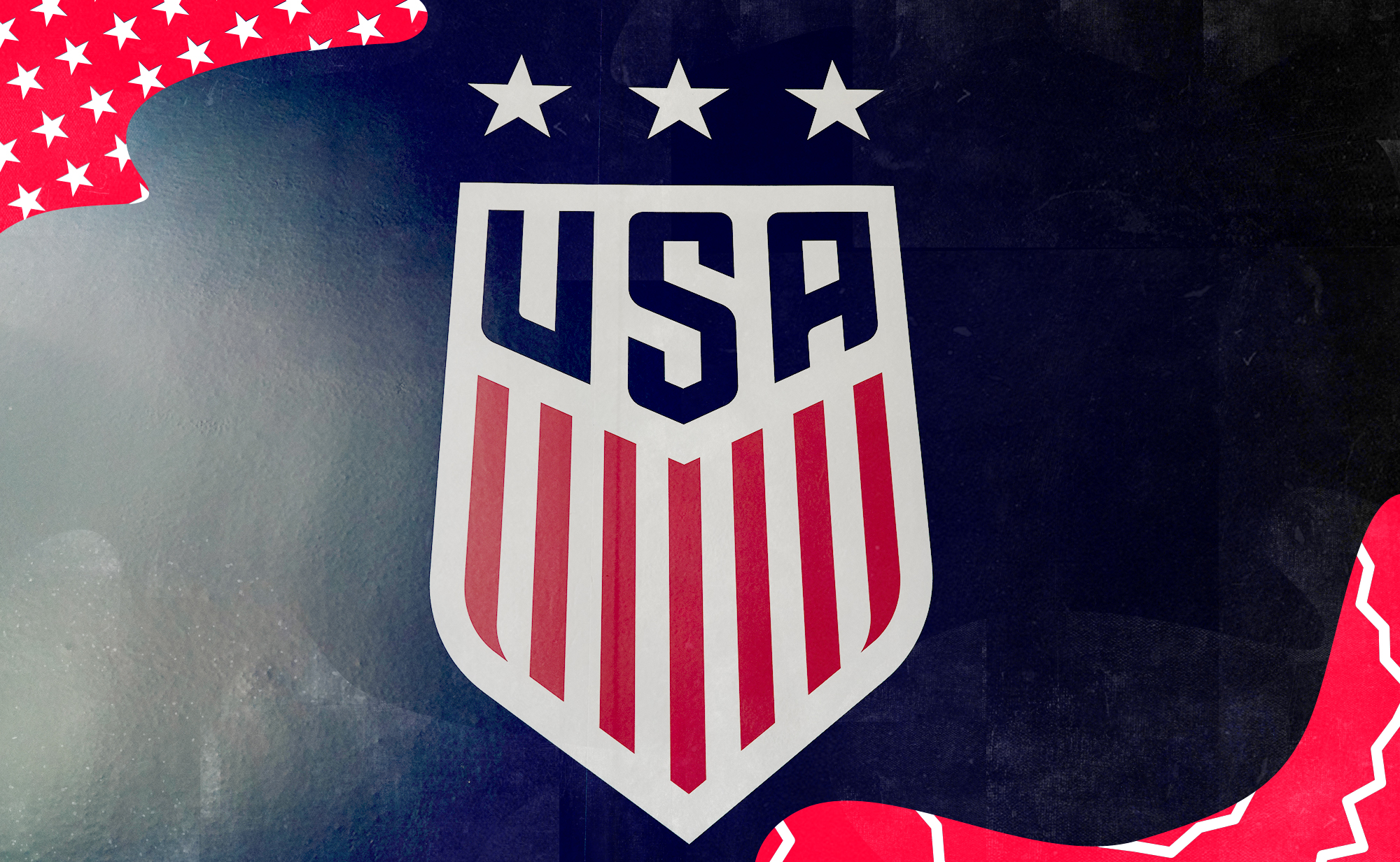 Photo of the U.S. Soccer's red and white crest, surrounded by red graphic trim.