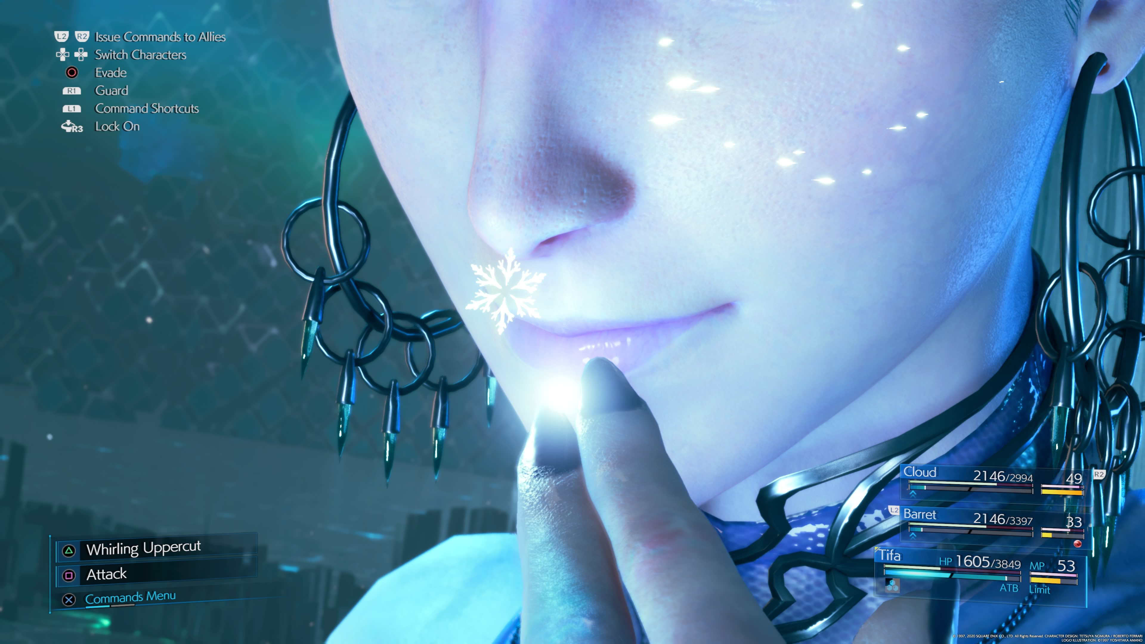 A close up of Shiva from the Final Fantasy 7 Remake