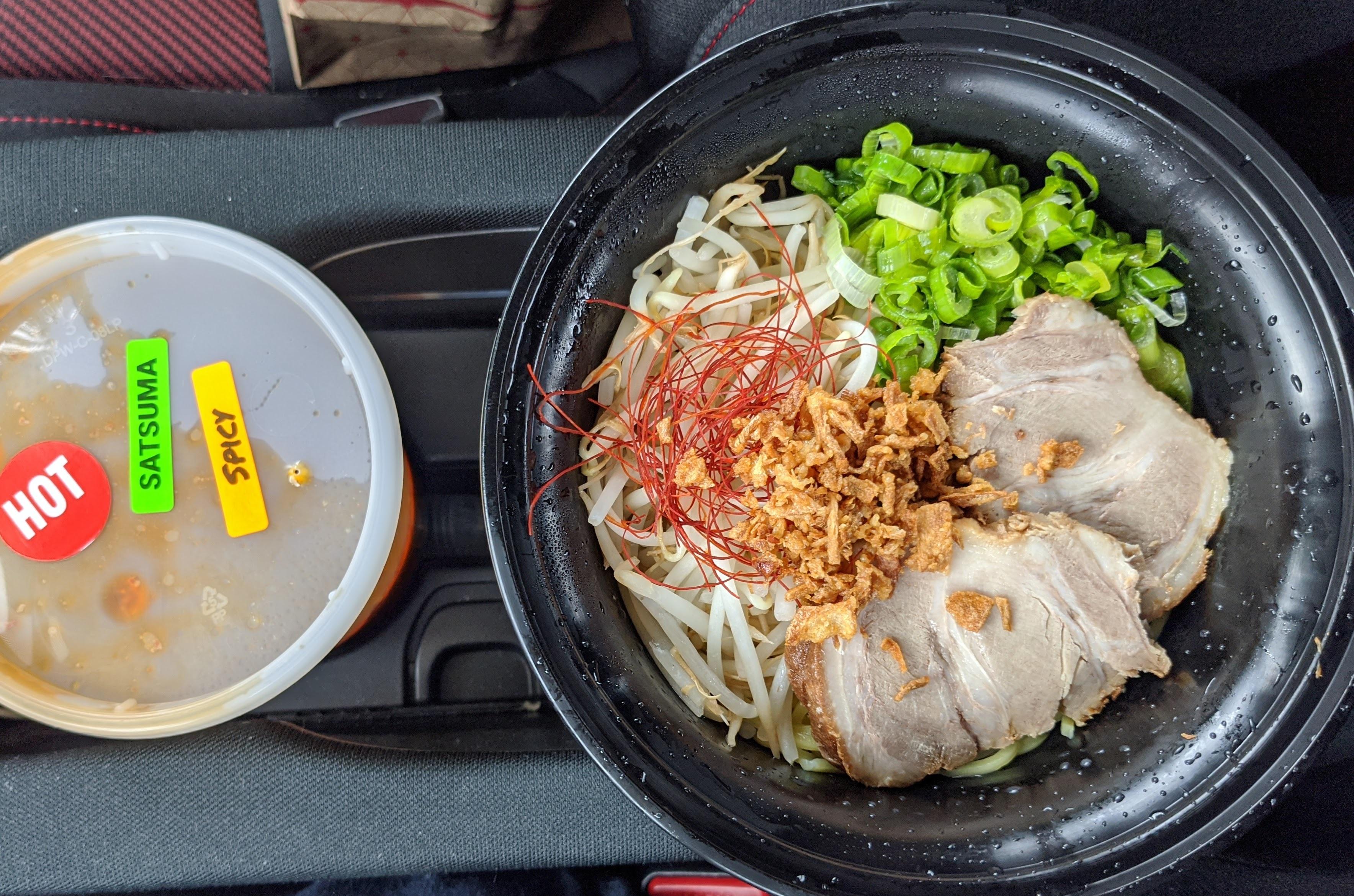 Takeout ramen bowl from Shin Sen Gumi Express in Gardena