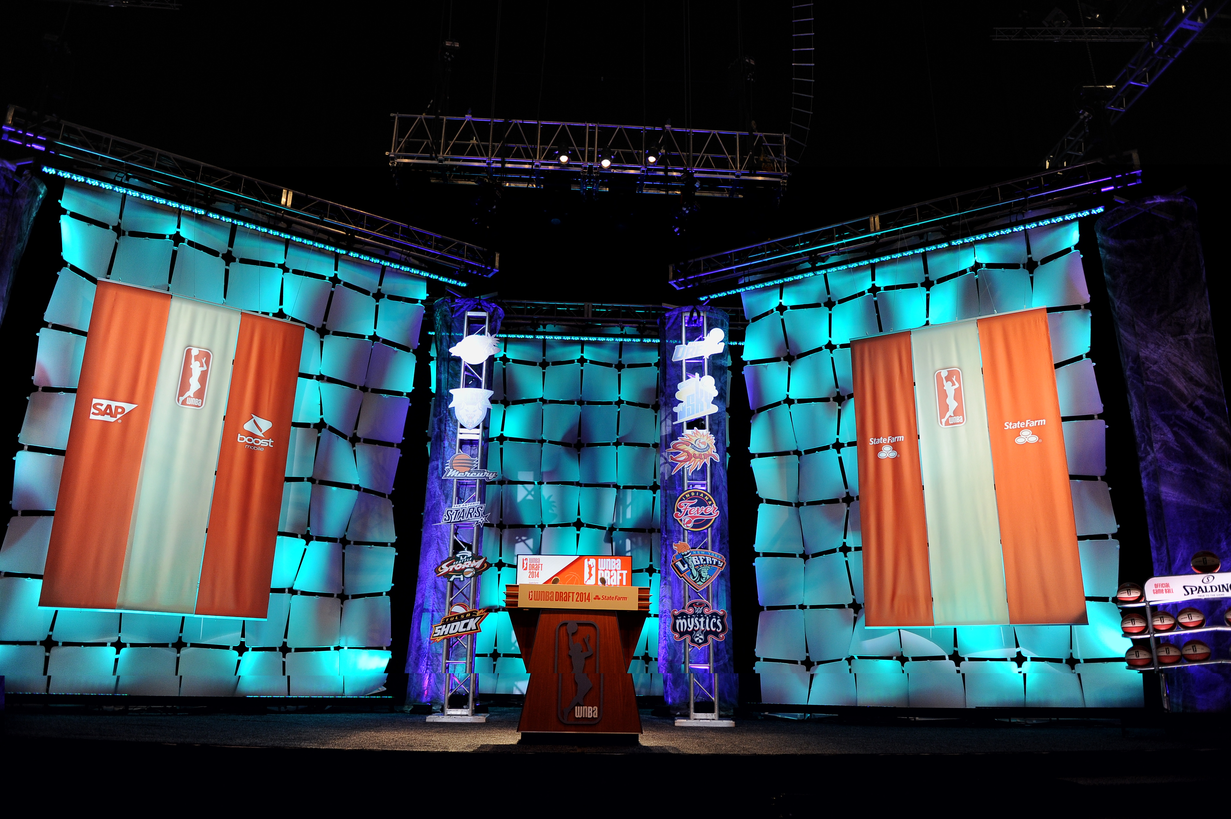 A general view of the stage prior to the 2014 WNBA Draft Presented By State Farm on April 14, 2014 at Mohegan Sun Arena in Uncasville, Connecticut.