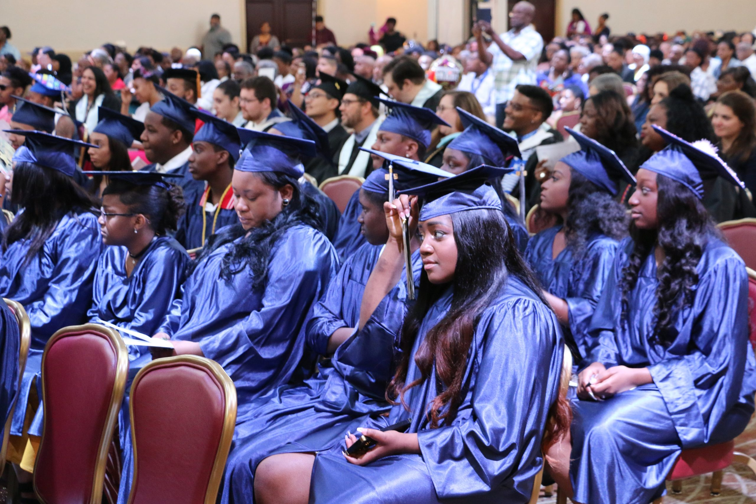 Students at KIPP Newark Collegiate Academy's graduation ceremonies in June 2018. This year's graduation events could be disrupted by the coronavirus pandemic.