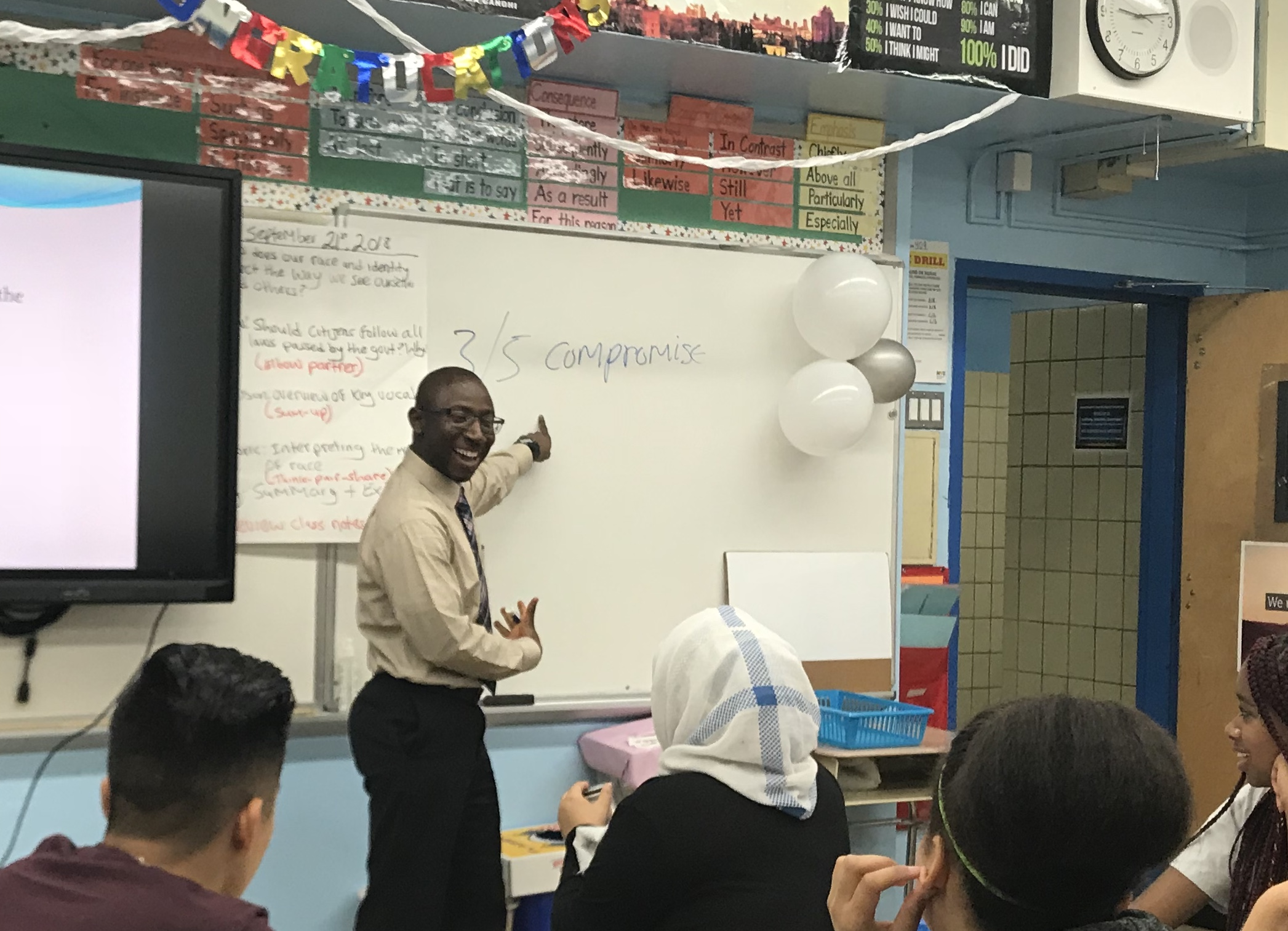 Alhassan Susso, New York's Teacher of the Year, leads a class discussion in his Bronx classroom.