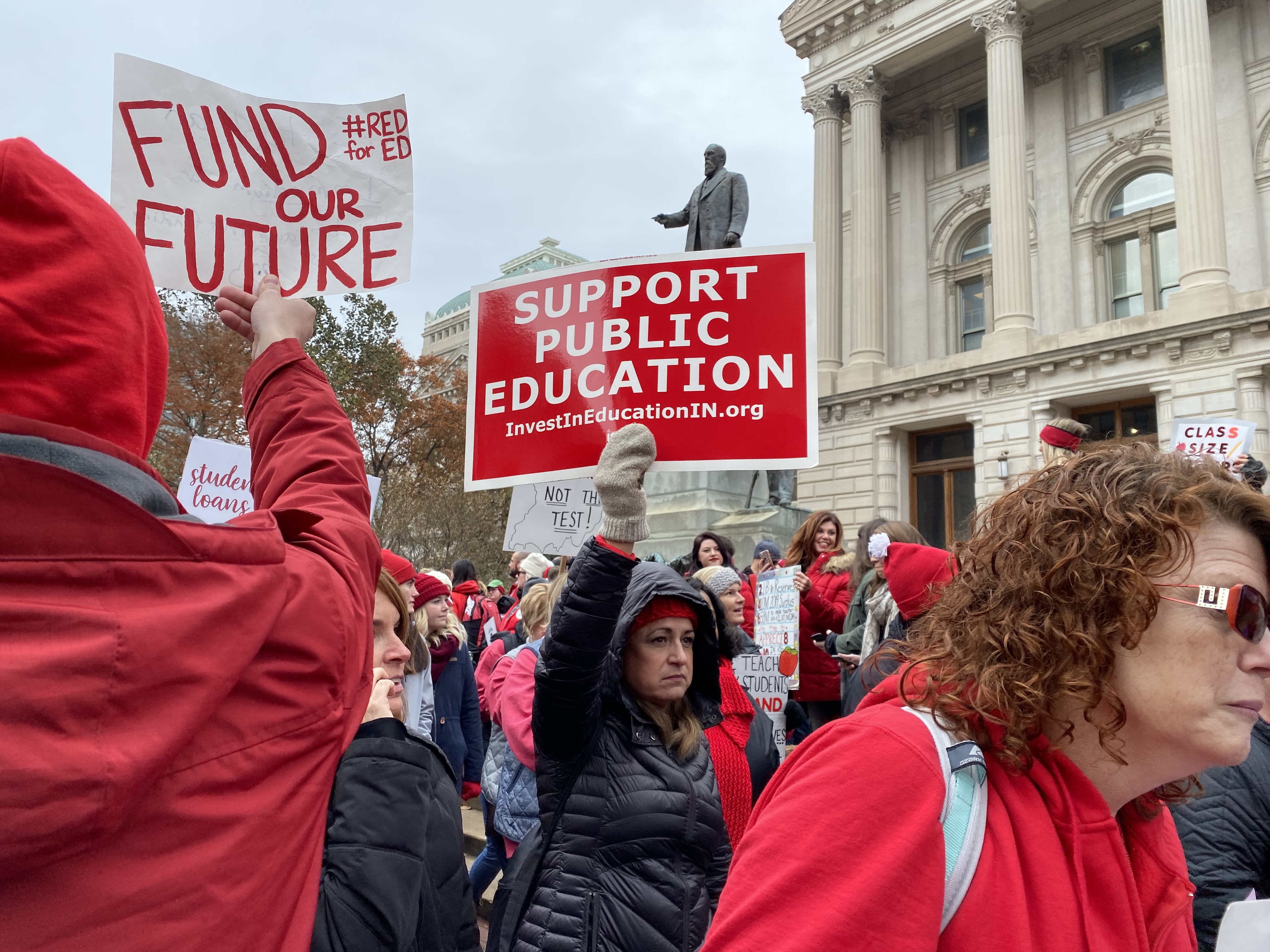 Thousands of Indiana teachers marched around the Statehouse at the Red for Ed rally on Tuesday, Nov. 19, 2019.