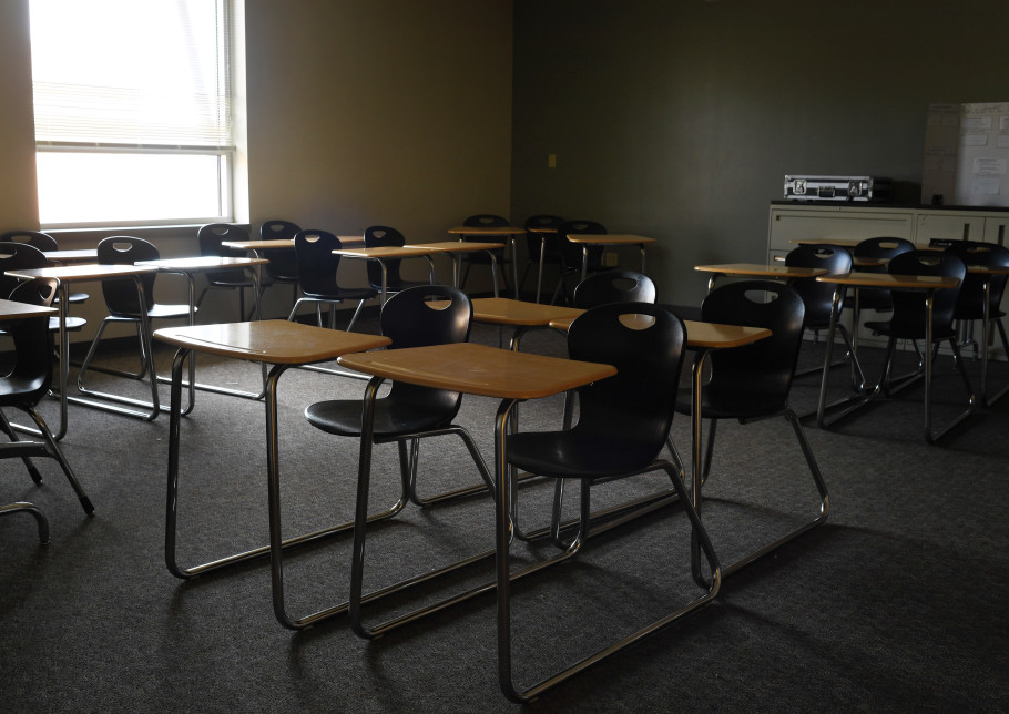 No students are in the classrooms at Lakewood High School on March 16, 2020, in Lakewood, Colorado.