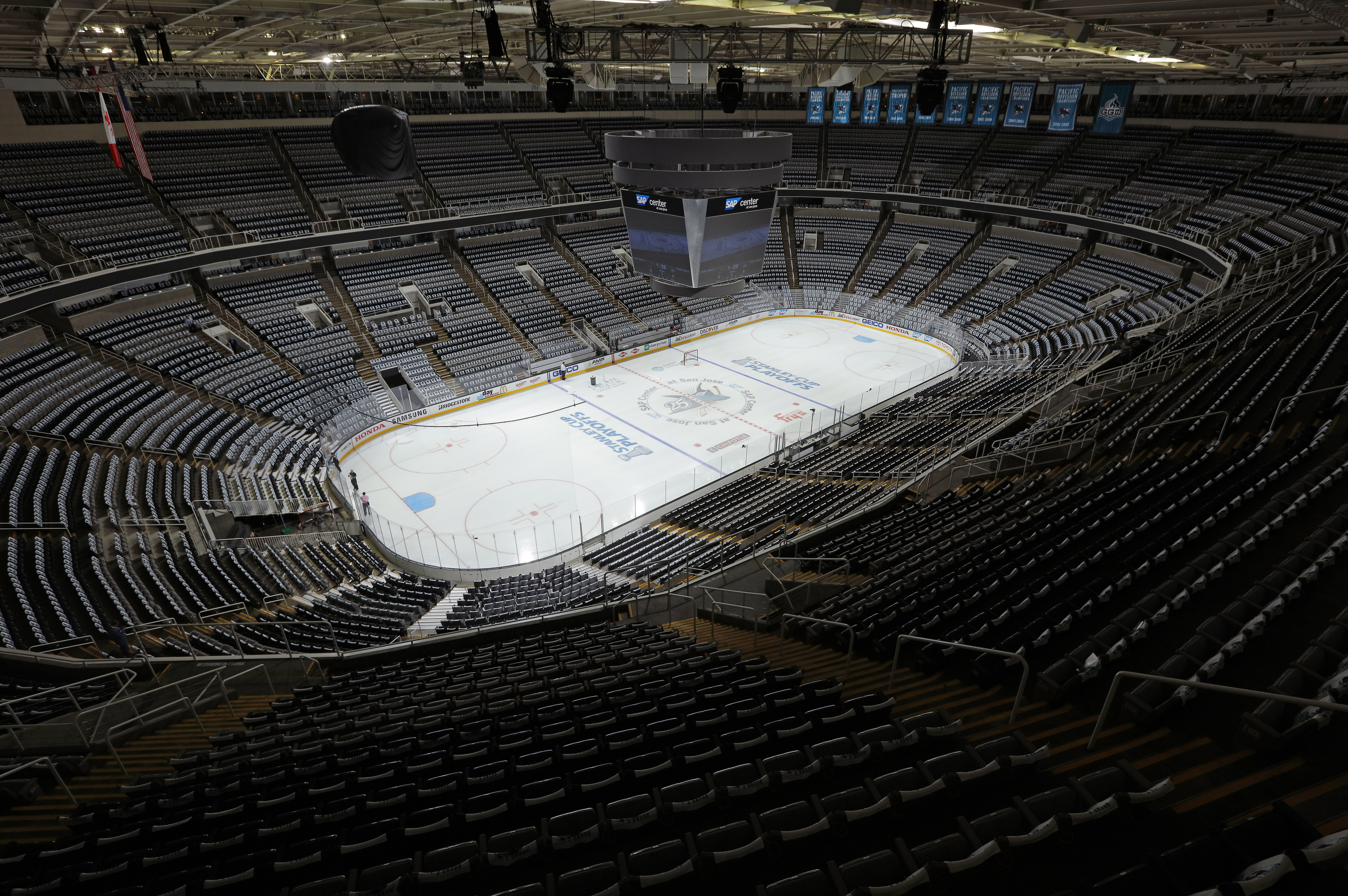 A view of the arena during prior to the game between the Nashville Predators and San Jose Sharks and in Game One of the Western Conference Semifinals during the 2016 NHL Stanley Cup Playoffs at SAP Center on April 29, 2016 in San Jose, California.