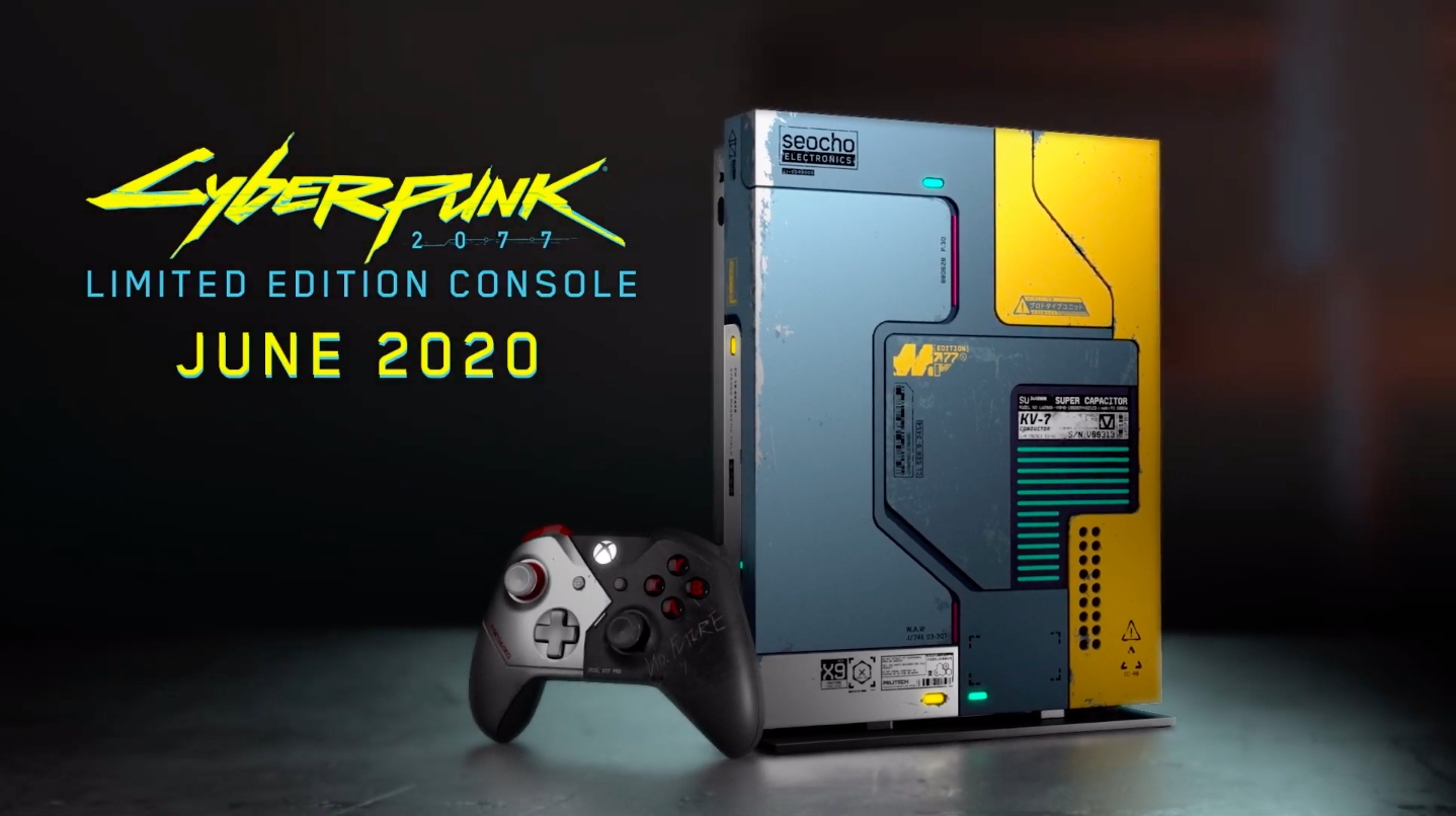 Artwork and logo for the Cyberpunk 2077-themed limited edition Xbox One X console and controller.