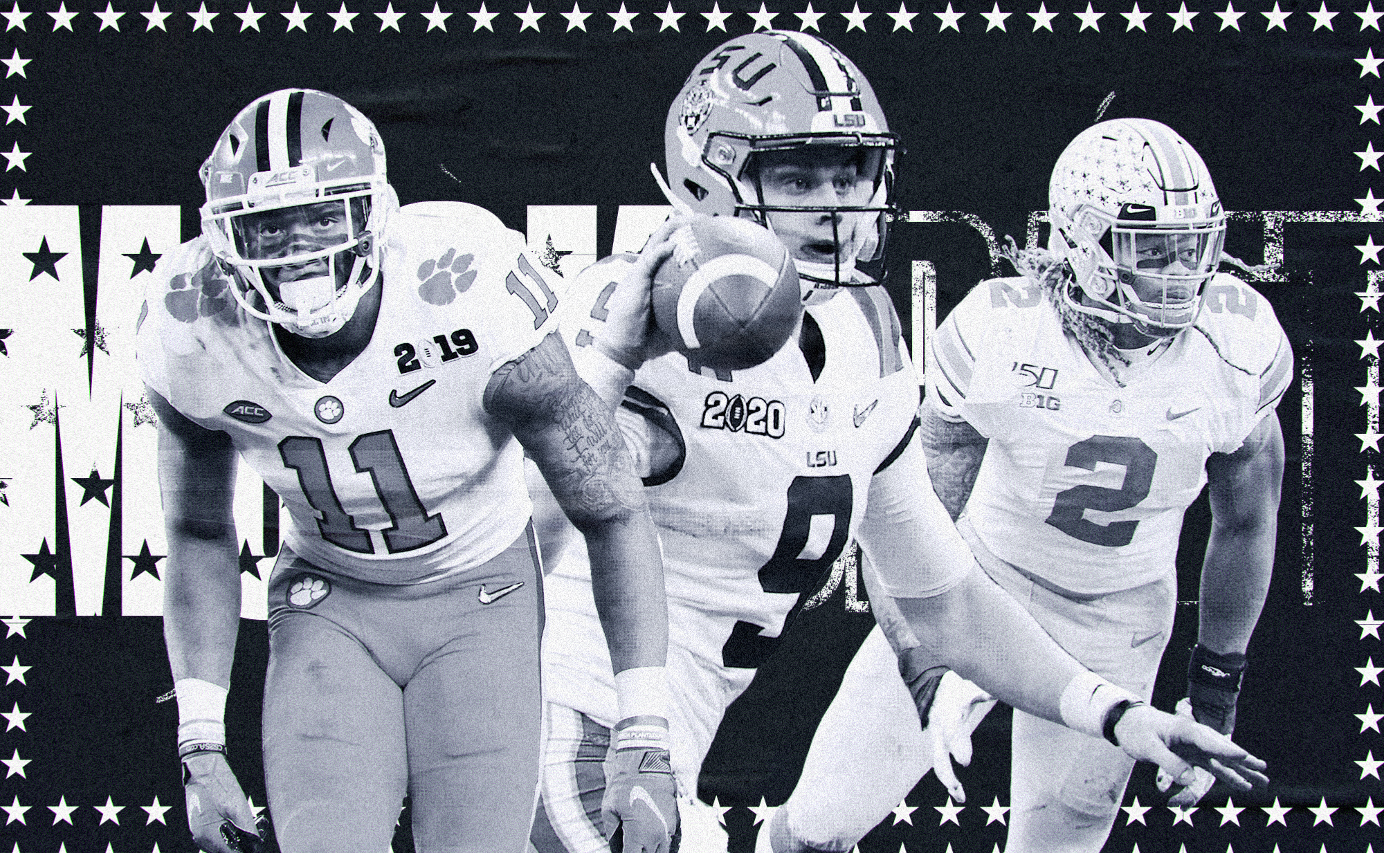 """A black and white collage of NFL Draft prospects Isaiah Simmons (Clemson LB), Joe Burrow (LSU QB), and Chase Young (Ohio State DE), with the words """"MOCK DRAFT"""" in the background surrounded by stars"""