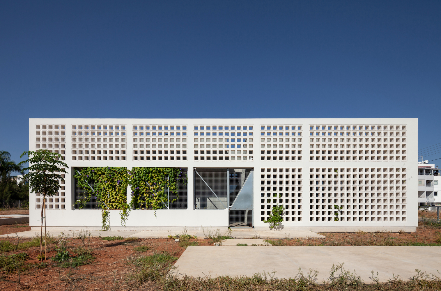 Single-story house with white concrete walls.