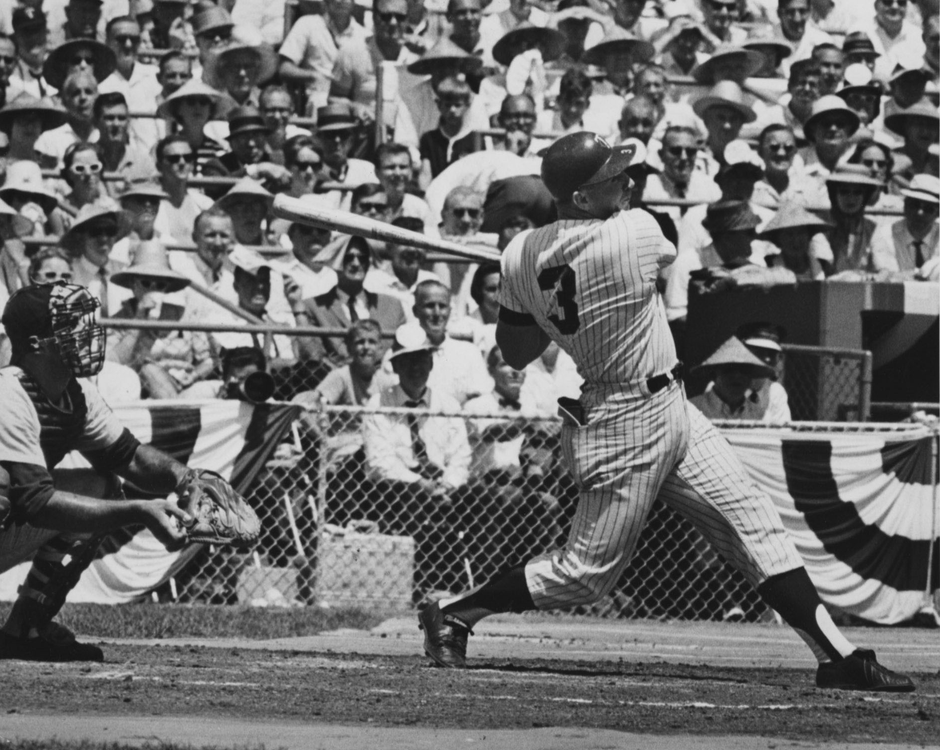 Harmon Killebrew hits a game-tying home run, July 13, 1965, for the American League team during the All Star game, which that year was played at Metropolitan Stadium in Bloomington, Minnesota. The National League went on to win the game. Photo by Kent Kob