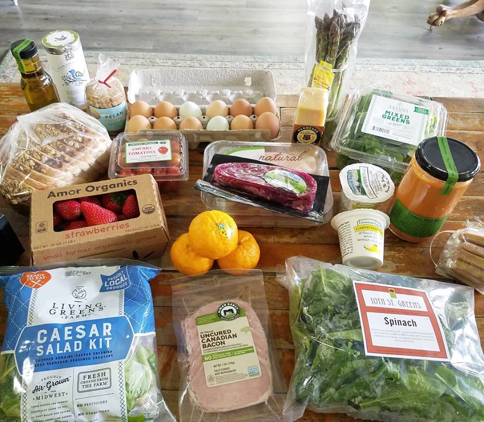 Eggs, steak, Cesar salad kit, asparagus, strawberries, cold cuts, butter, jarred soup, and more