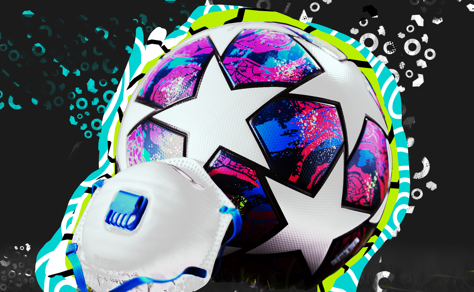 Photo of a Premier League match soccer ball and with an N95 face mask leaning against it.