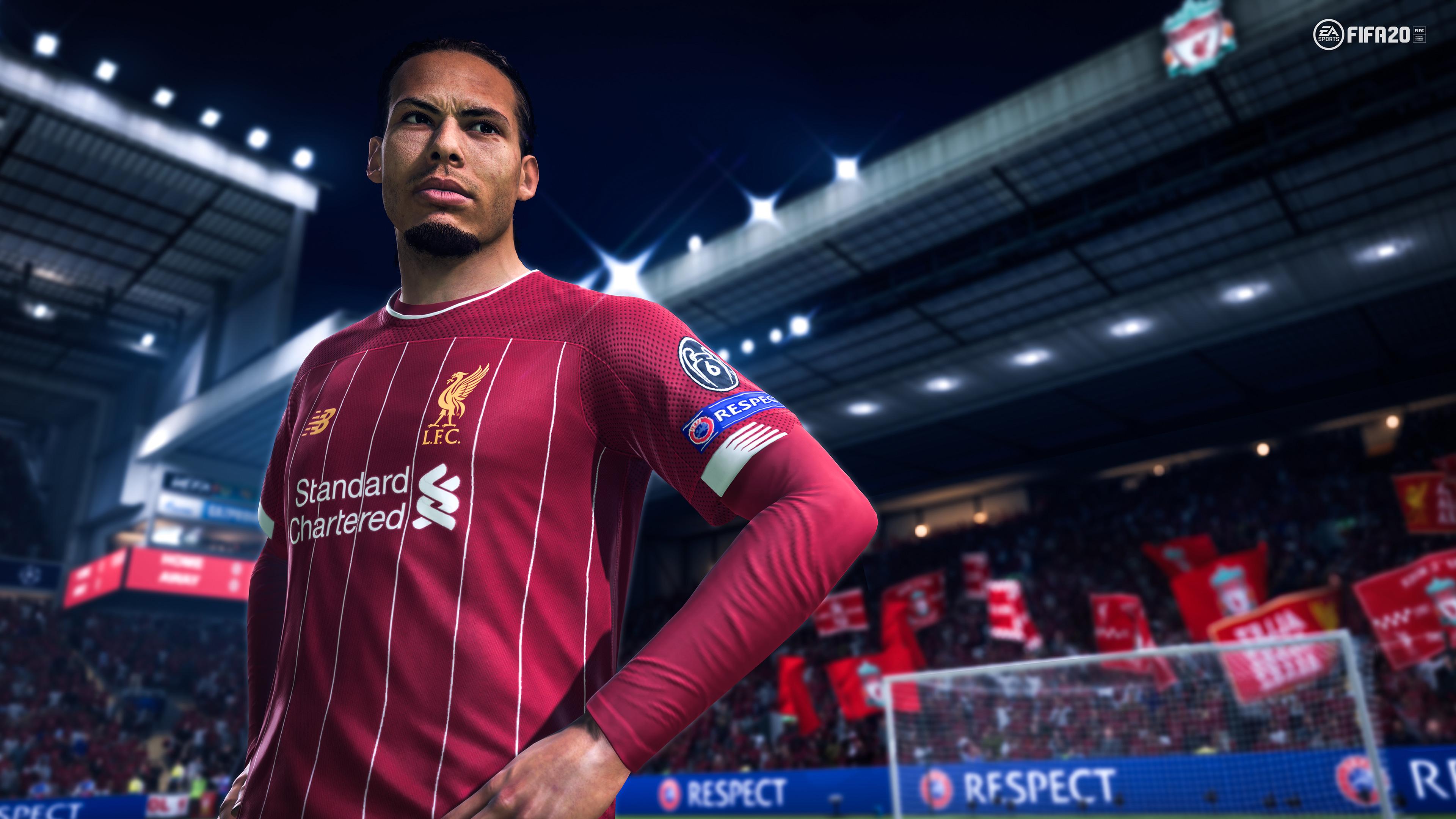 Virgil van Dijk in a red Liverpool F.C. uniform in FIFA 20
