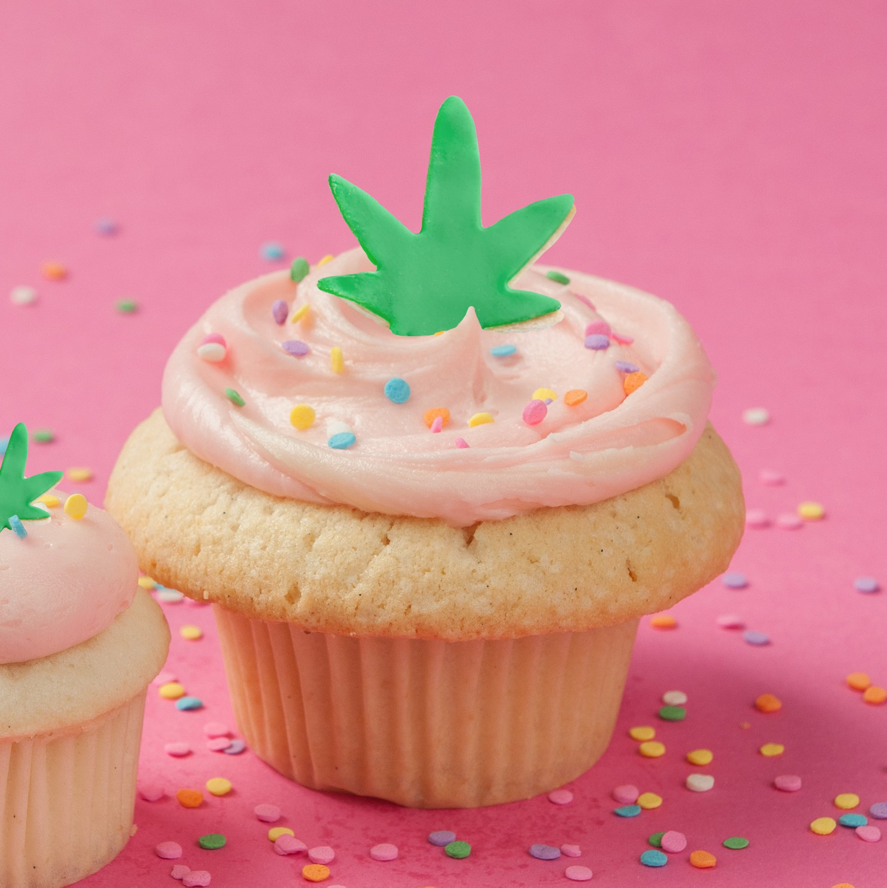 A cupcake with a marijuana leaf decoration on top against a pink background