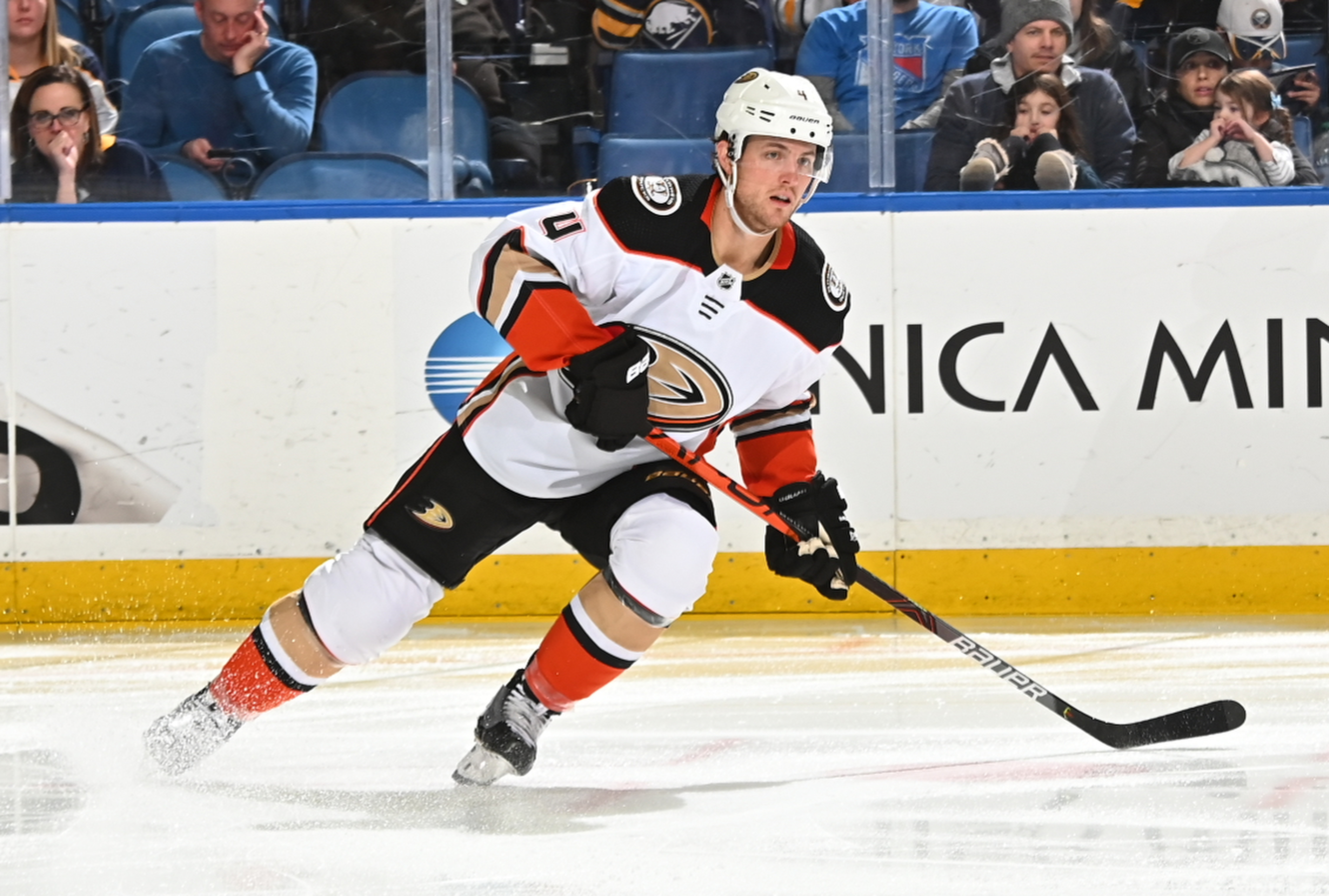 BUFFALO, NY - FEBRUARY 9: Cam Fowler #4 of the Anaheim Ducks skates during an NHL game against the Buffalo Sabres on February 9, 2020 at KeyBank Center in Buffalo, New York. Anaheim won, 3-2.