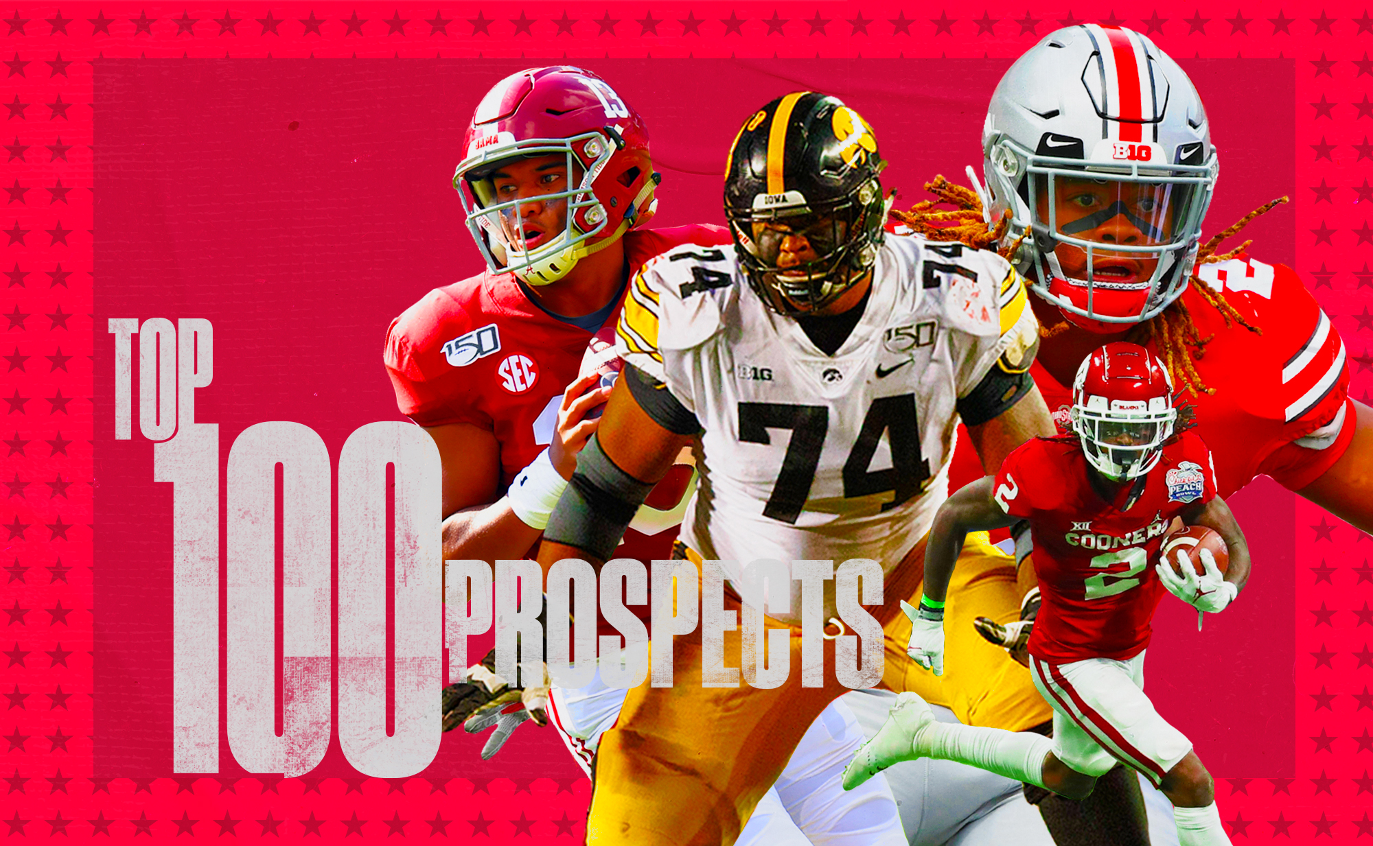 """An art collage of NFL Draft prospects Tua Tagovailoa, Tristan Wirfs, Chase Young, CeeDee Lamb, superimposed on a red background with """"Top 100 prospects"""" in white letters and a star border"""
