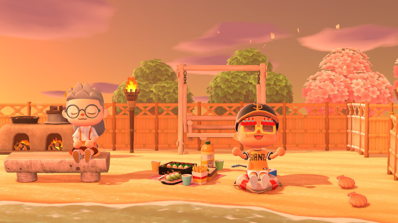 Animal Crossing island with orange tones.