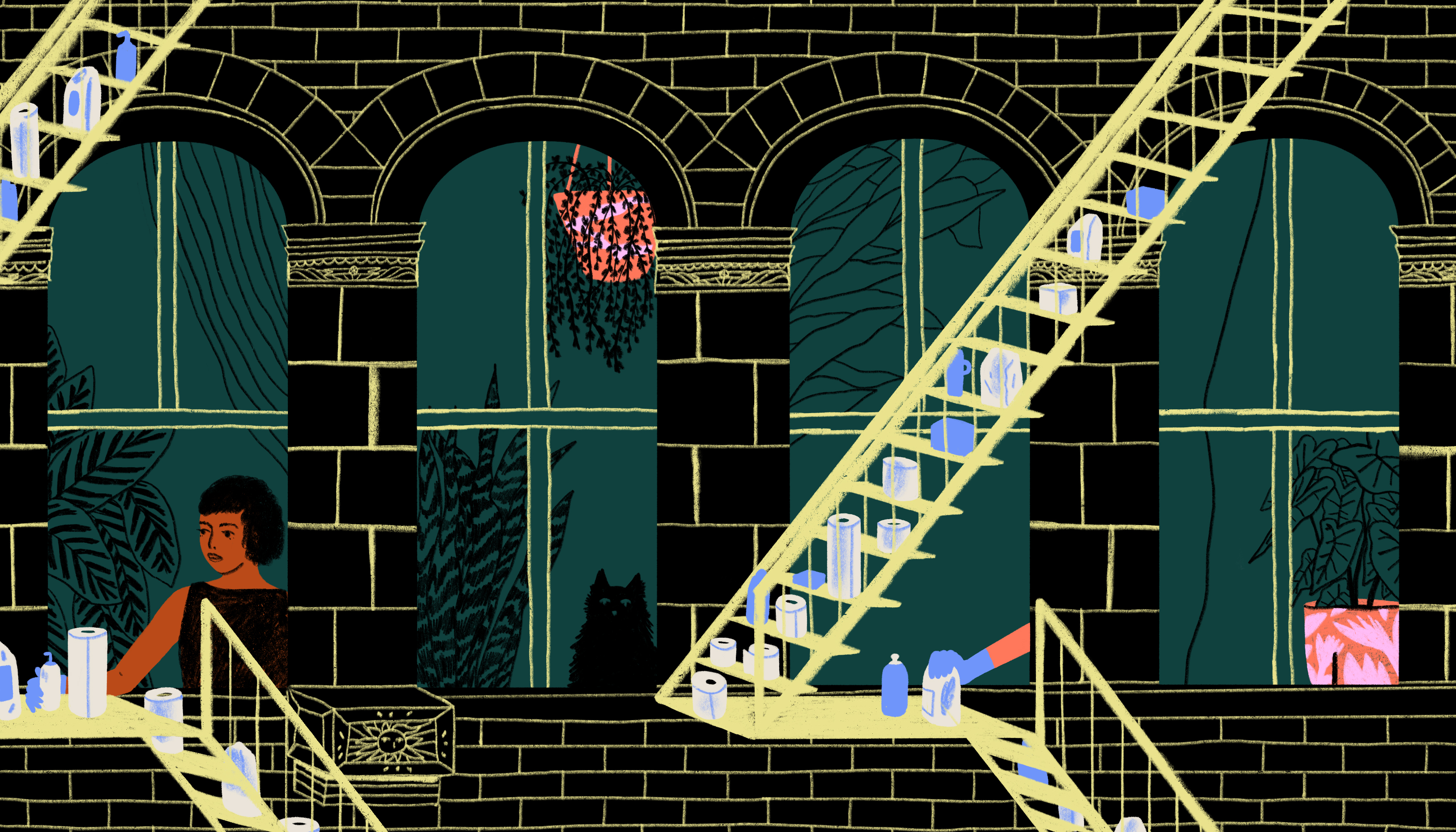 A close up on two residential, city fire escapes set with supplies like toilet paper, hand sanitizer and disinfecting wipes. Illustration.